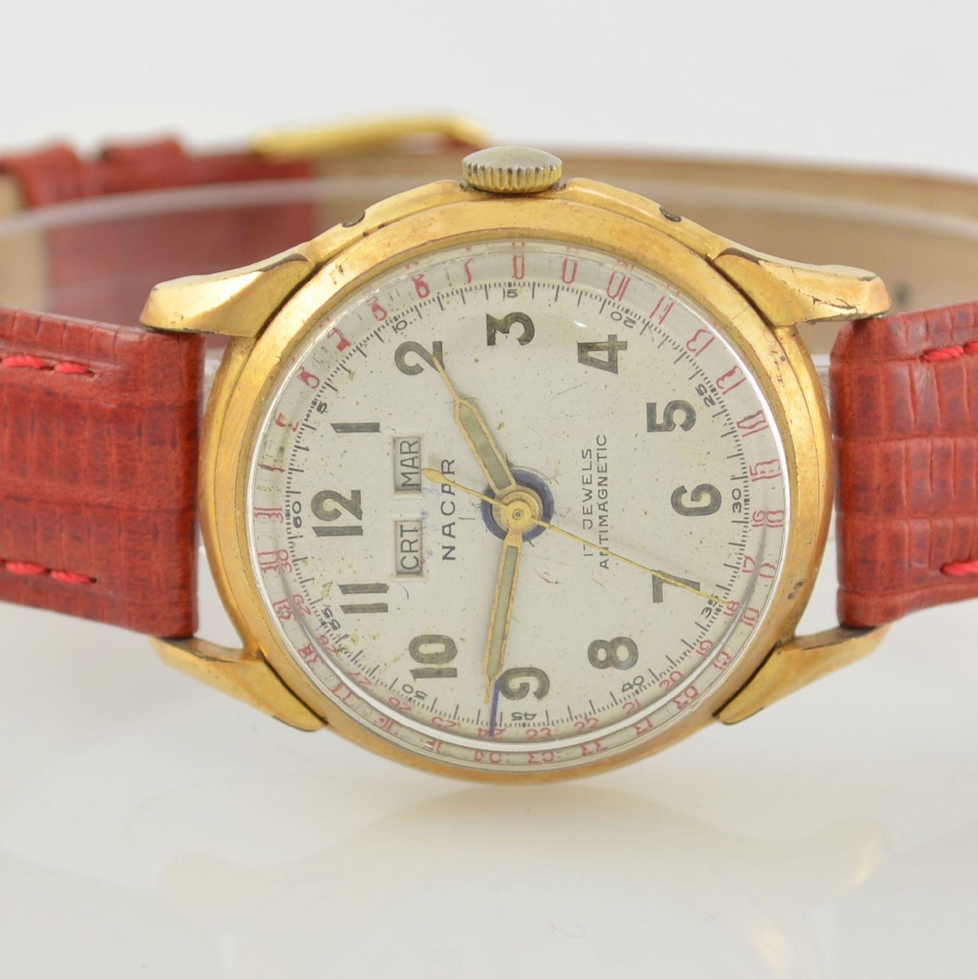 Konvolut: 2 Armbanduhren mit Kalender bzw. Datum, Schweiz um 1950-1960, Handaufzug, 1) NACAR m. - Bild 2 aus 12