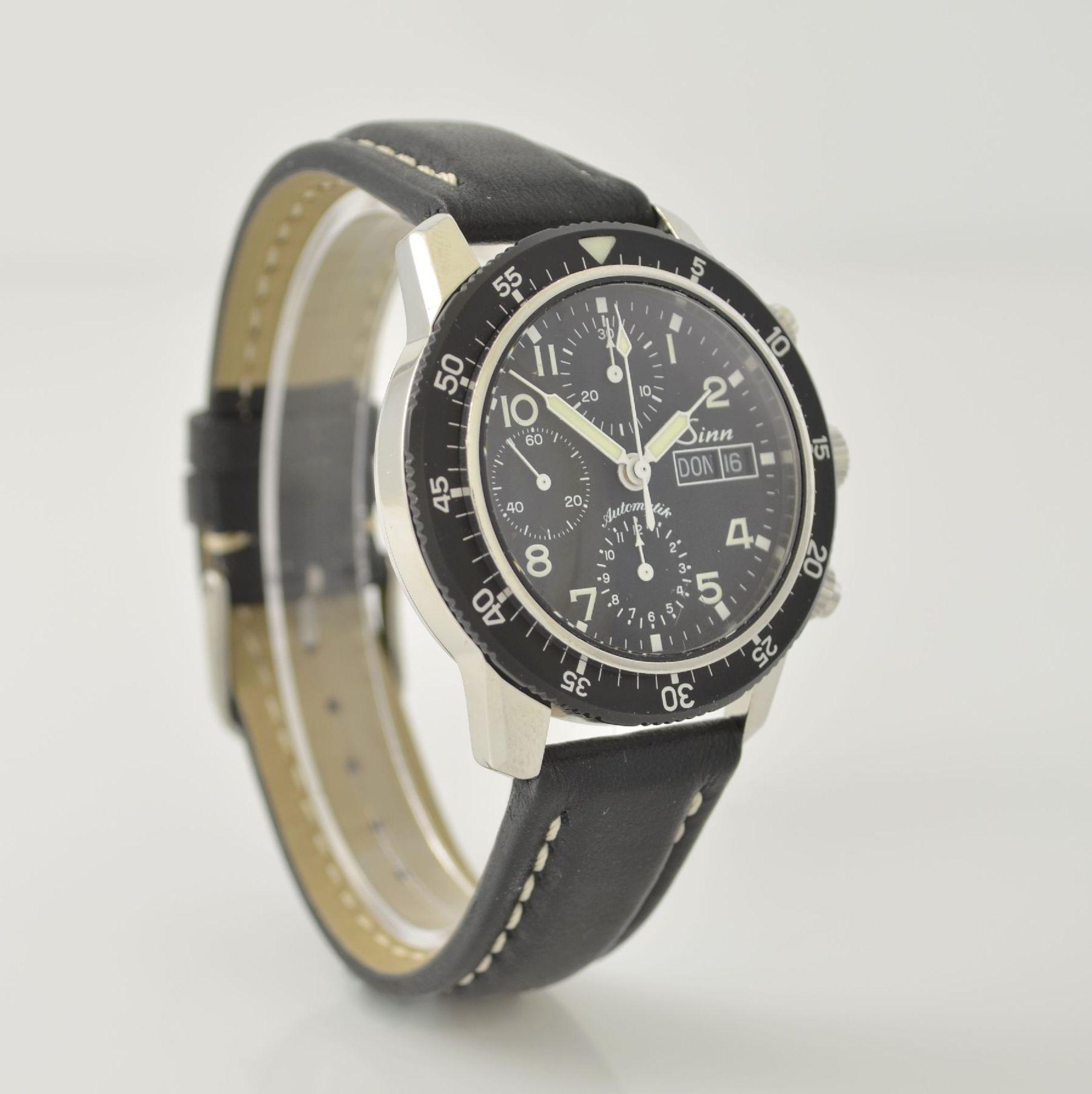SINN Armbandchronograph, Automatik, Schweiz um 2010, pol. Edelstahlgeh. inkl. orig. Lederband m. - Bild 4 aus 6