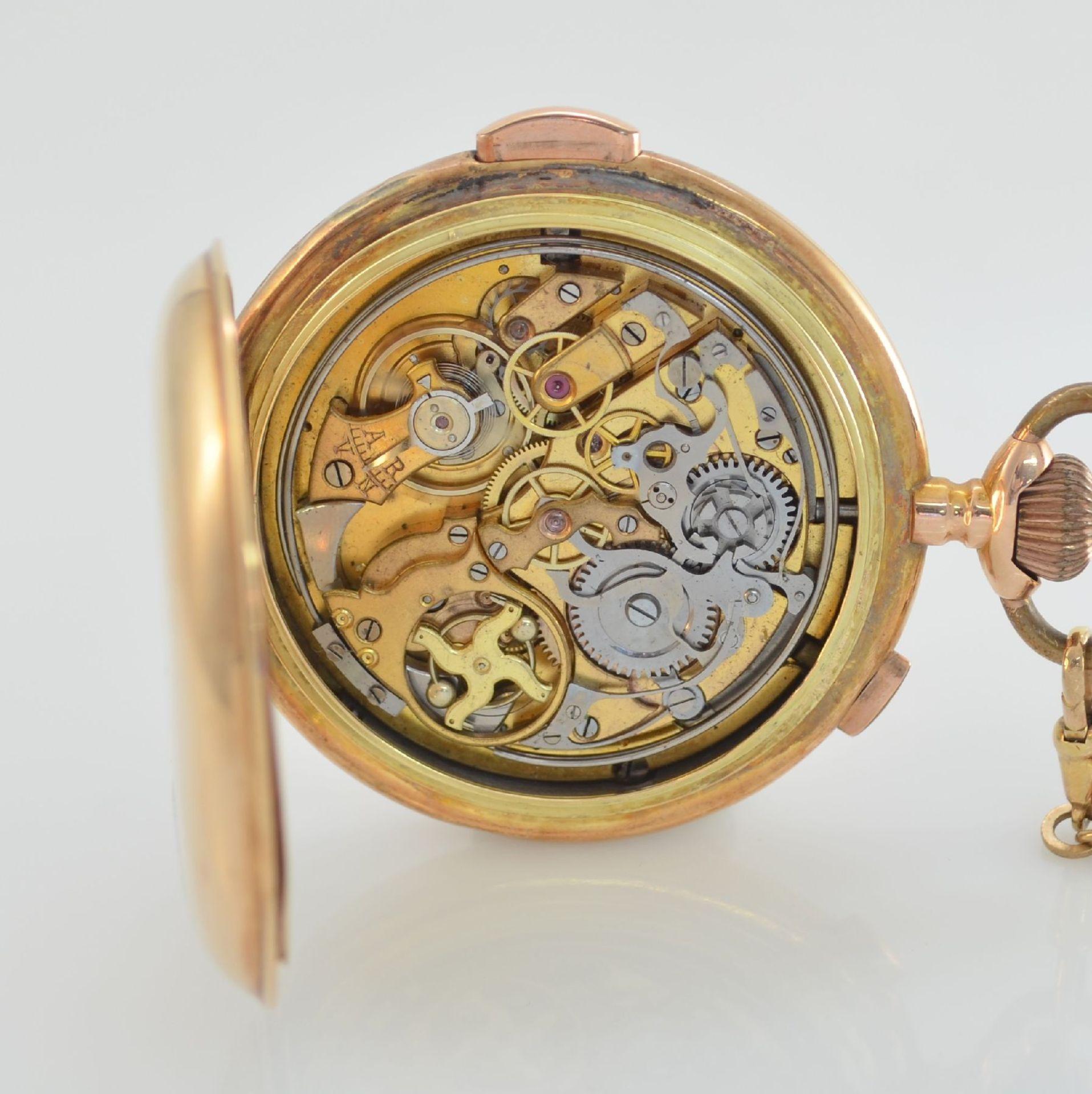 Savonette Herrentaschenuhr in RoseG 585/000 mit 1/4 Stunden Repetition und Chronograph, Schweiz um - Bild 8 aus 9
