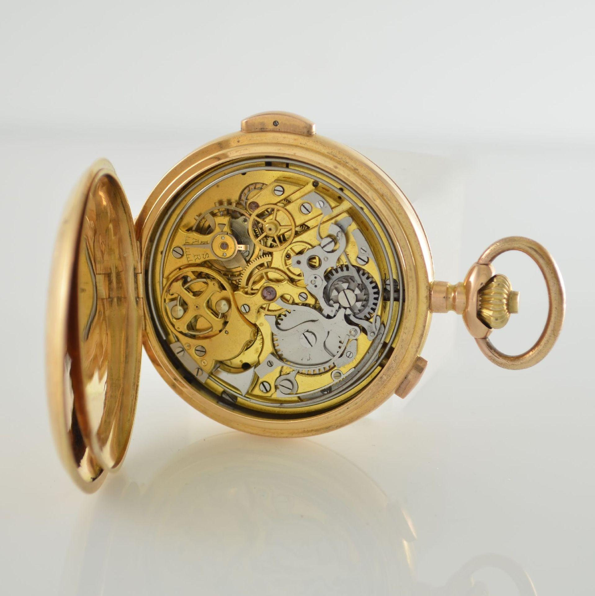 Herrensavonette mit 1/4 Std.-Repetition & Chronograph in RG 750/000, Schweiz um 1910, glattes 3- - Bild 5 aus 6