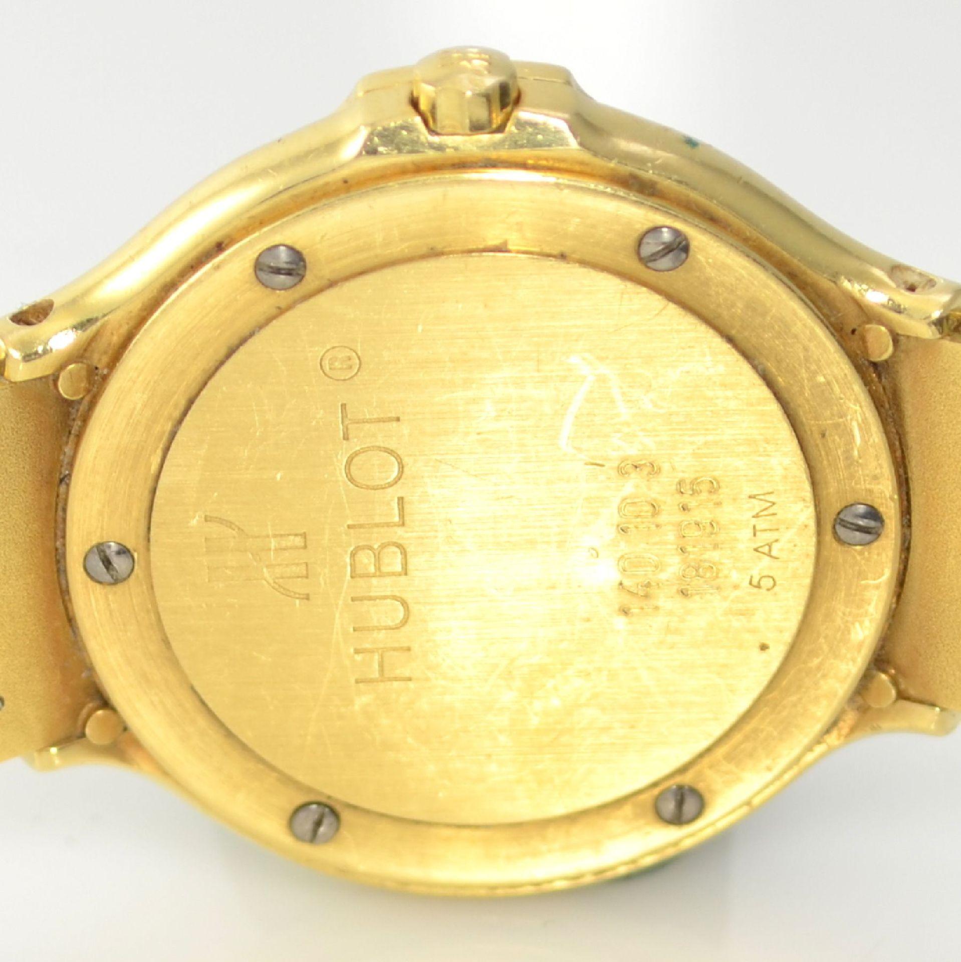HUBLOT MDM Armbanduhr in GG 750/000, Schweiz um 1995, quarz, Ref. 140.10.3, massives Goldgeh., Boden - Bild 7 aus 7