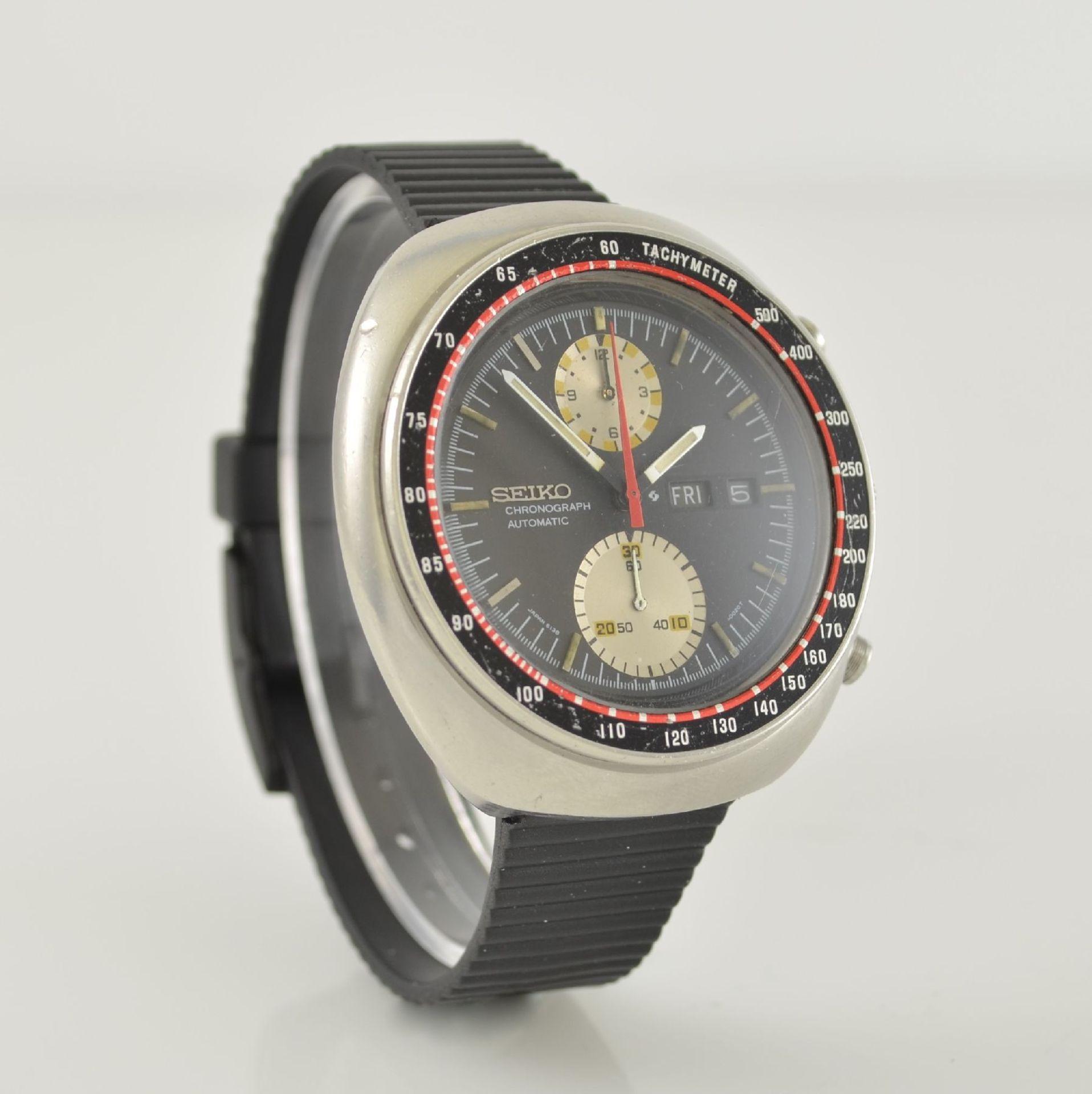 SEIKO Herrenarmbanduhr mit Chronograph, Japan um 1970, Automatik, massives Edelstahlgeh., neutr. - Bild 4 aus 6