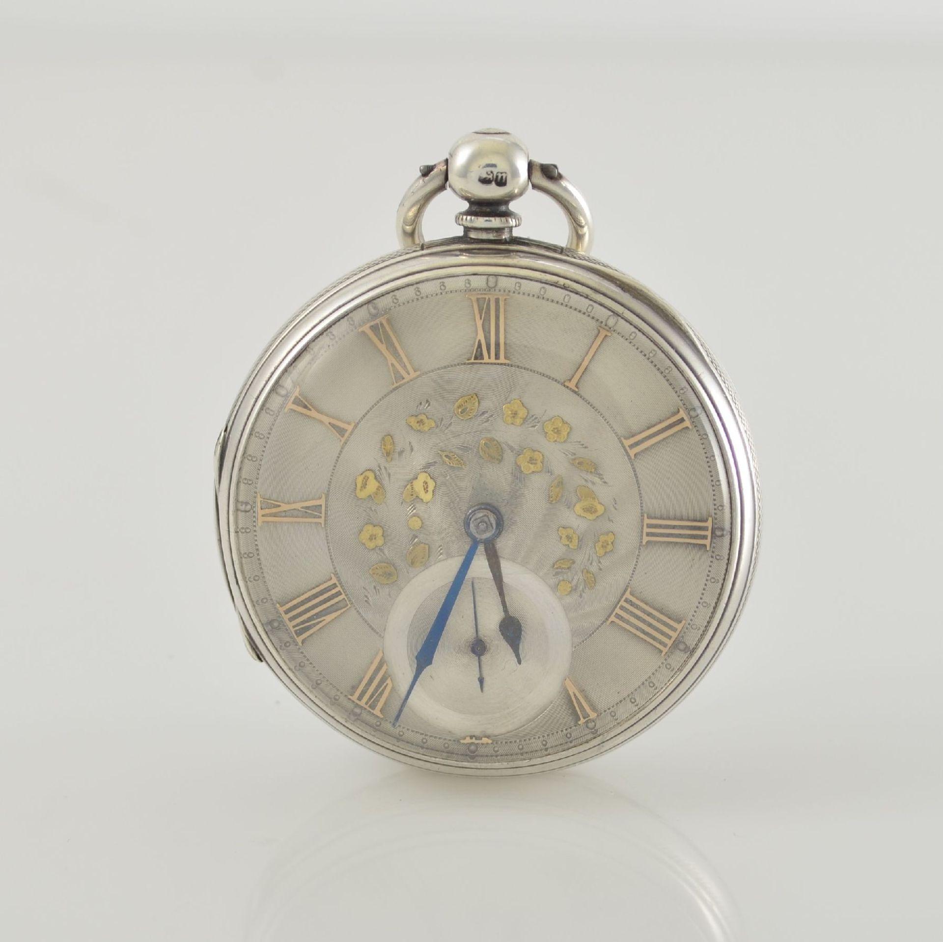 STORY & SEDMAN englische Taschenuhr in Silber, um 1870, 3-teil. Gehäuse innen m. Widmung,