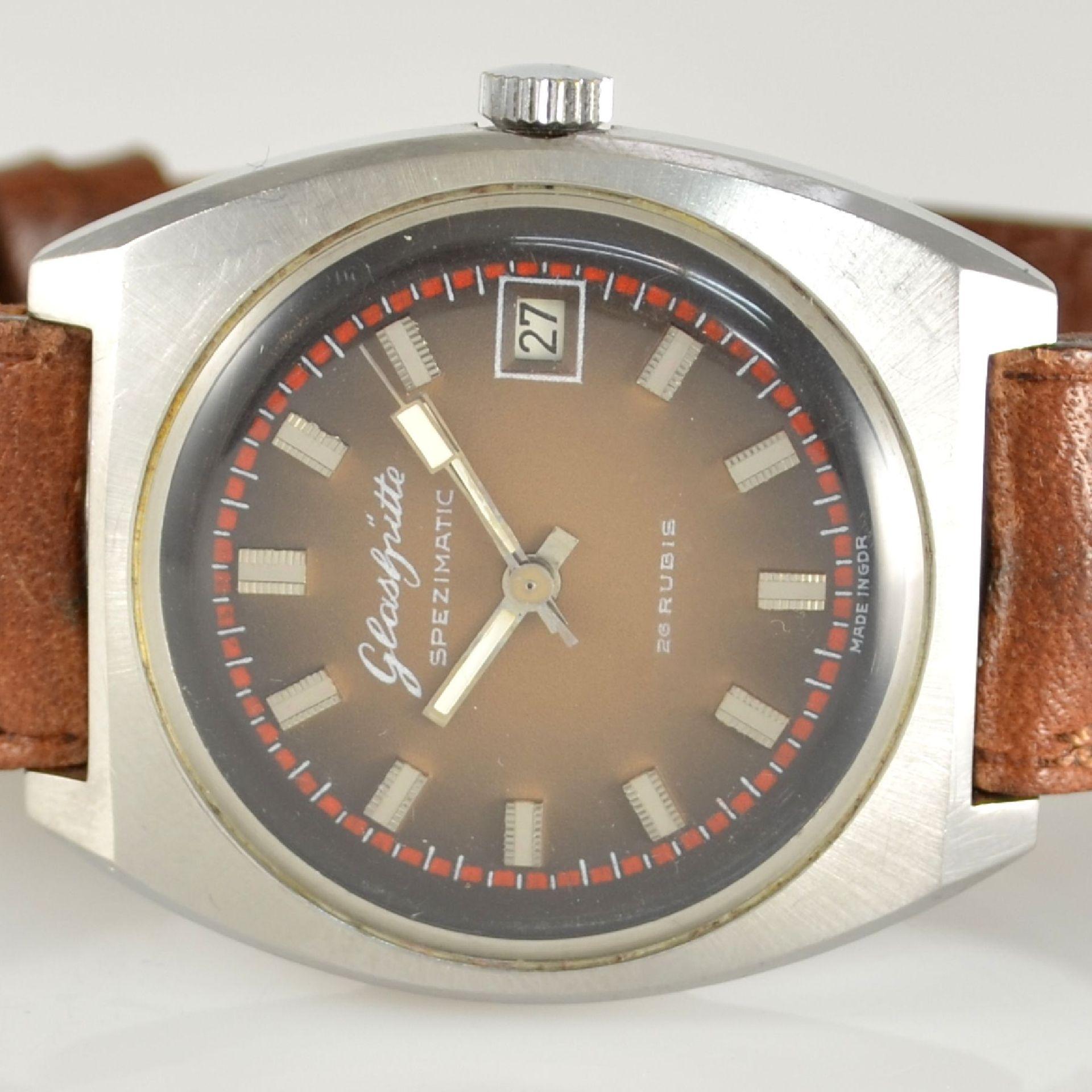 GLASHÜTTE Armbanduhr Spezimatic in Edelstahl, Automatik, DDR um 1970, Boden aufgedr., ausgef. - Bild 2 aus 5