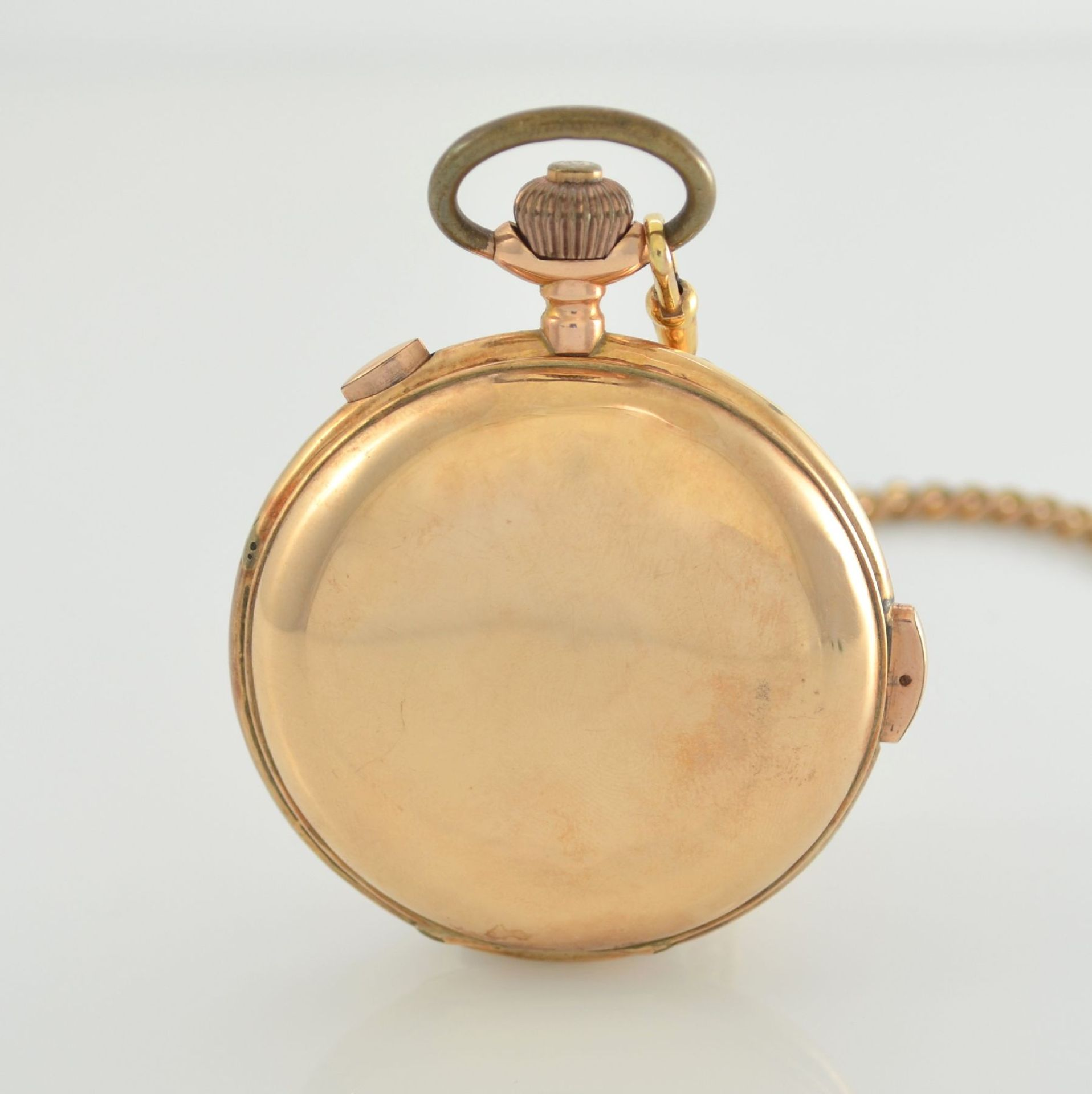 Savonette Herrentaschenuhr in RoseG 585/000 mit 1/4 Stunden Repetition und Chronograph, Schweiz um - Bild 4 aus 9