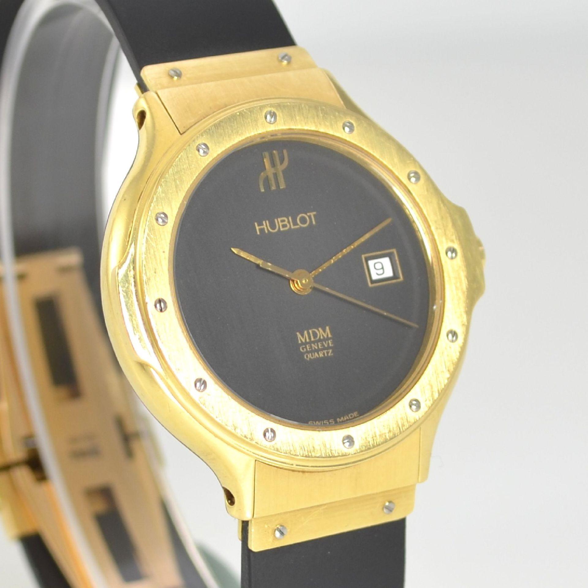 HUBLOT MDM Armbanduhr in GG 750/000, Schweiz um 1995, quarz, Ref. 140.10.3, massives Goldgeh., Boden - Bild 5 aus 7