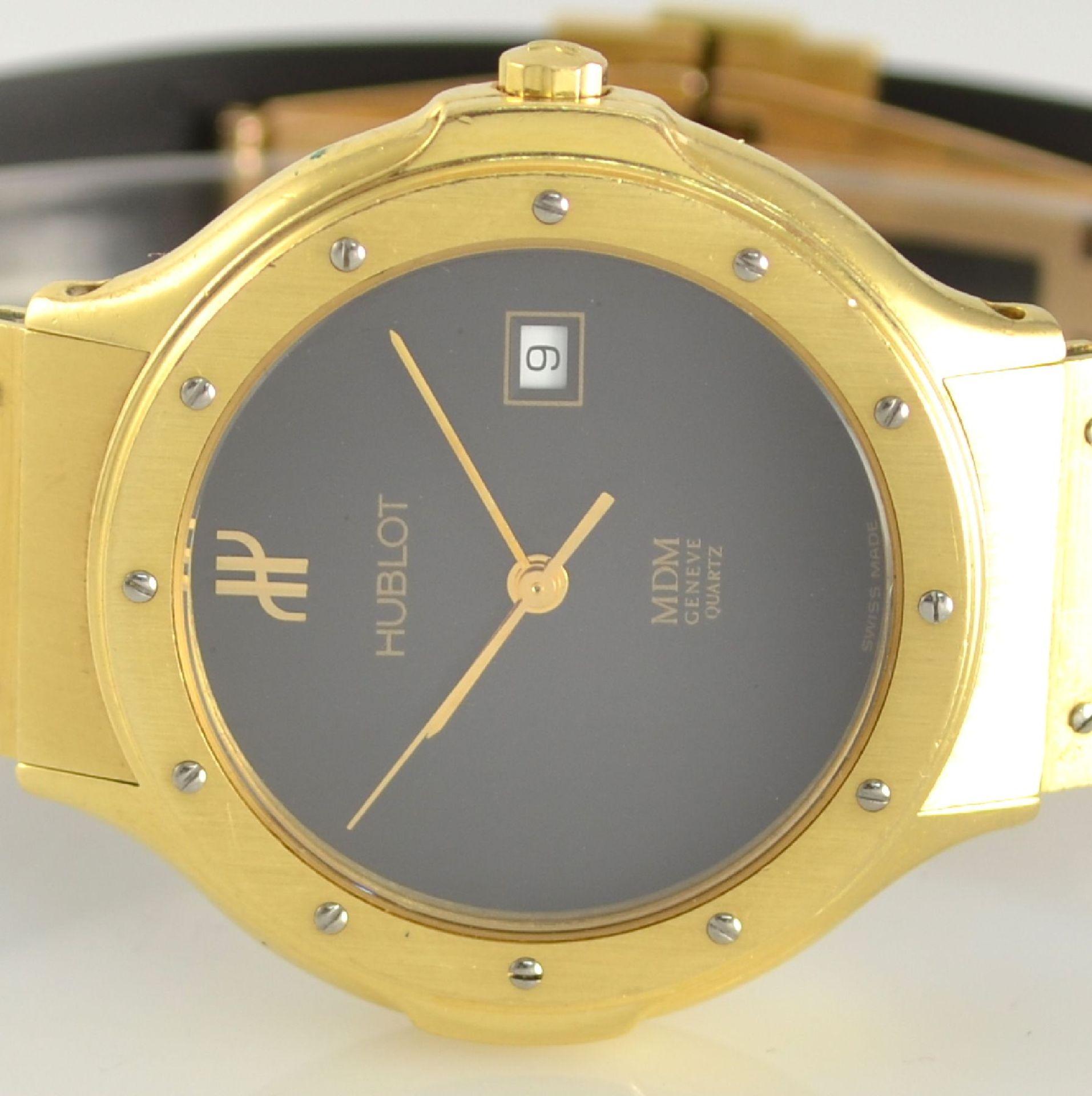 HUBLOT MDM Armbanduhr in GG 750/000, Schweiz um 1995, quarz, Ref. 140.10.3, massives Goldgeh., Boden - Bild 2 aus 7