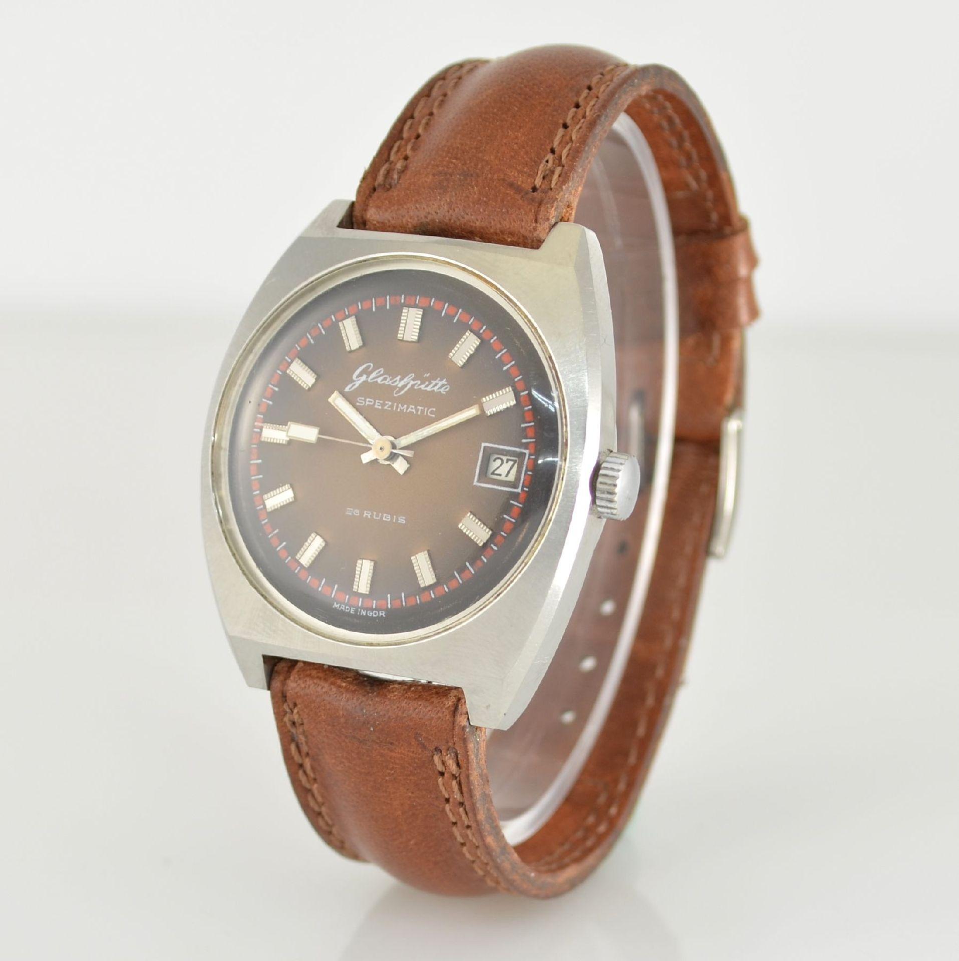 GLASHÜTTE Armbanduhr Spezimatic in Edelstahl, Automatik, DDR um 1970, Boden aufgedr., ausgef. - Bild 3 aus 5