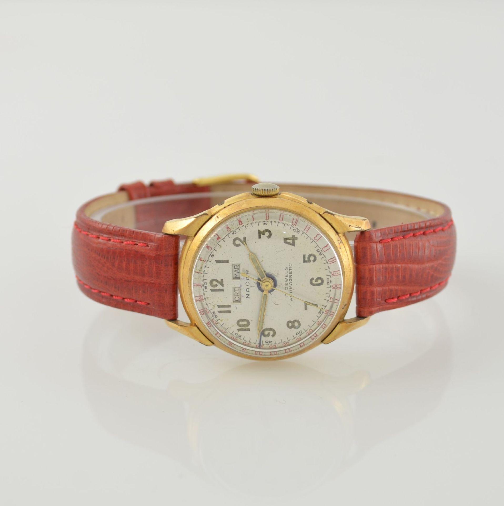 Konvolut: 2 Armbanduhren mit Kalender bzw. Datum, Schweiz um 1950-1960, Handaufzug, 1) NACAR m.