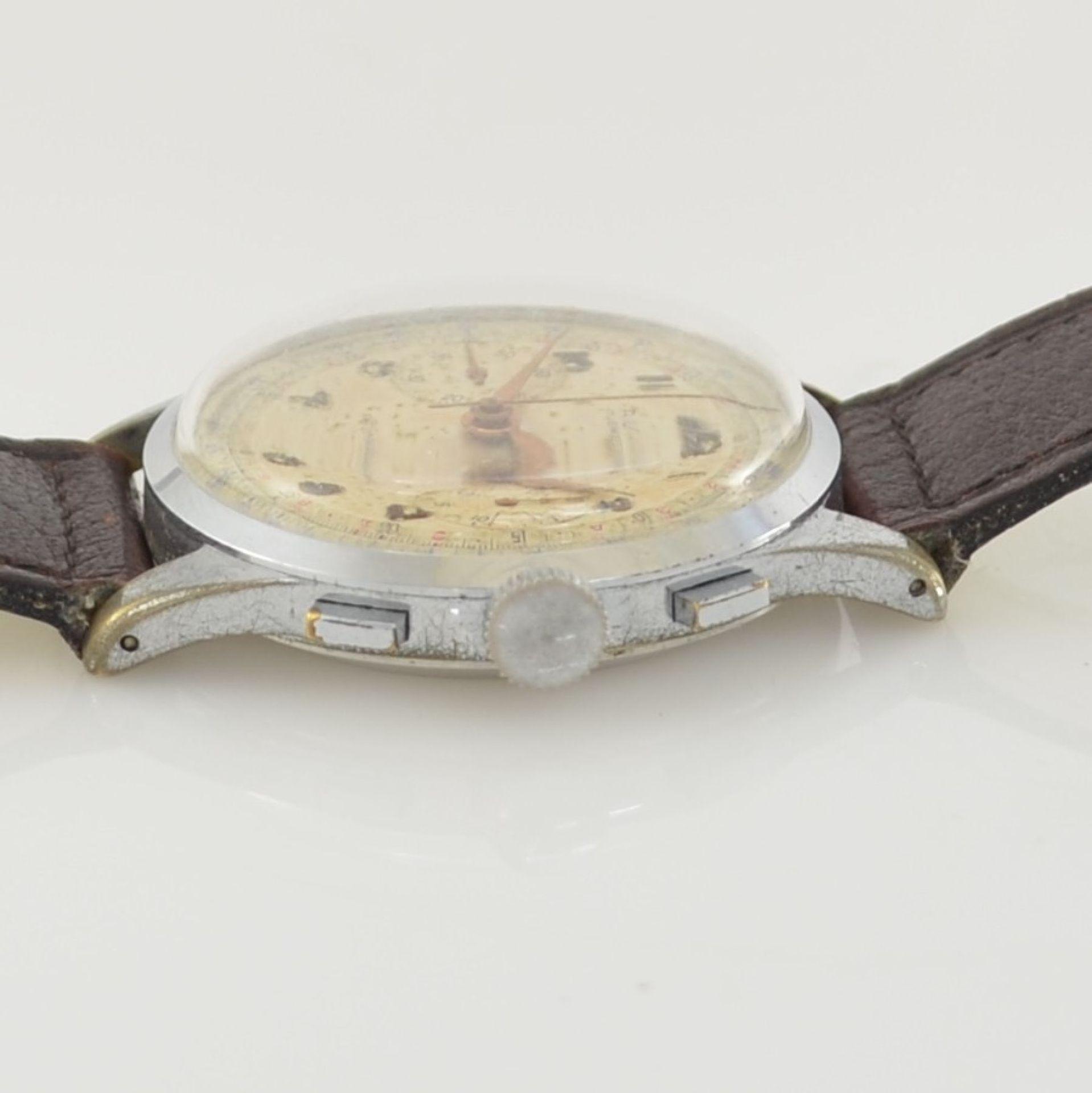 AVIA Armbandchronograph, Handaufzug, Schweiz für den dtsch. Markt um 1940, verchr. Metallgeh. - Bild 5 aus 10