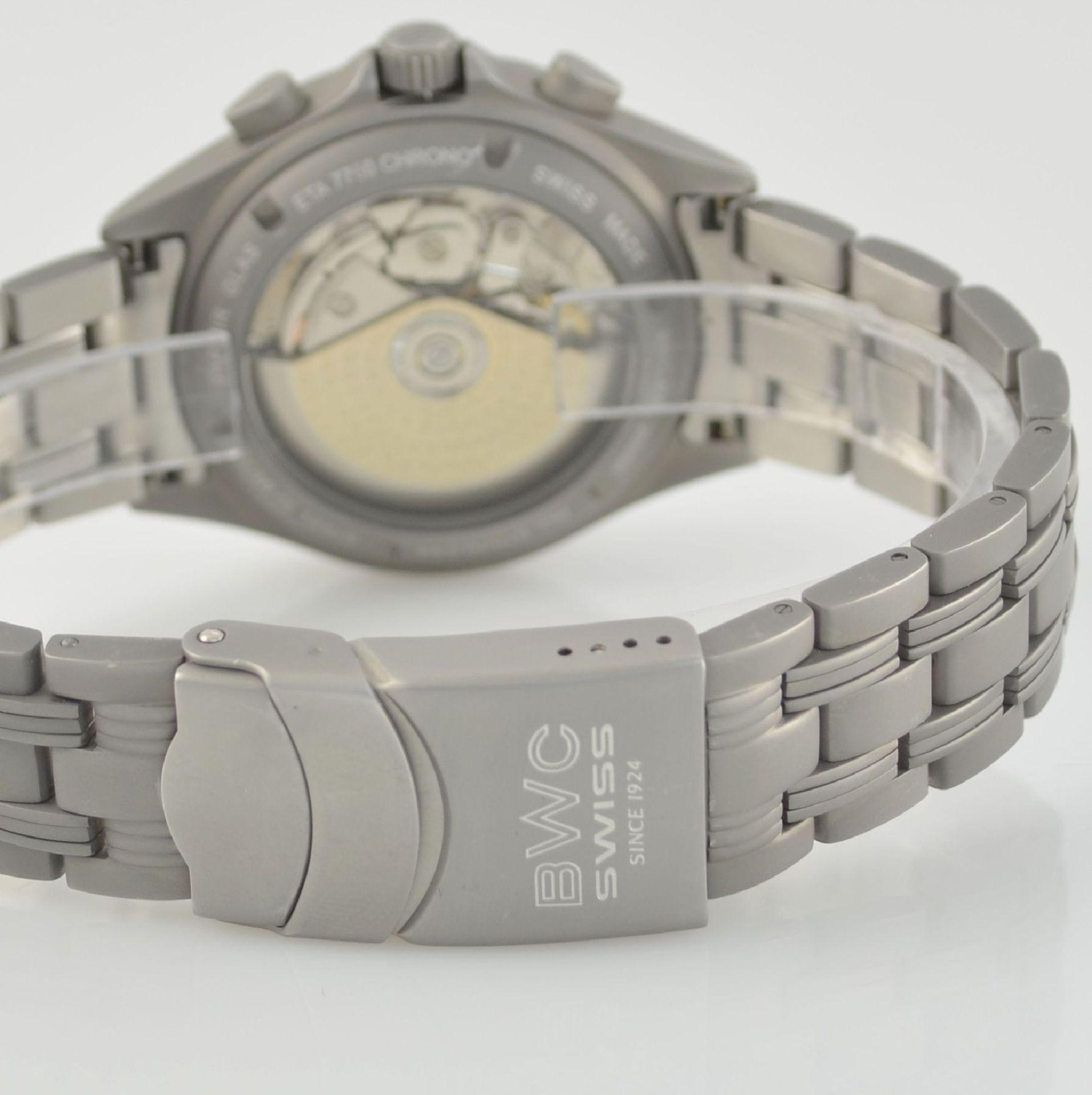 BWC Armbandchronograph, Automatik, Schweiz um 2010, matt. Edelstahlgeh. inkl. orig. Gliederband m. - Bild 5 aus 7