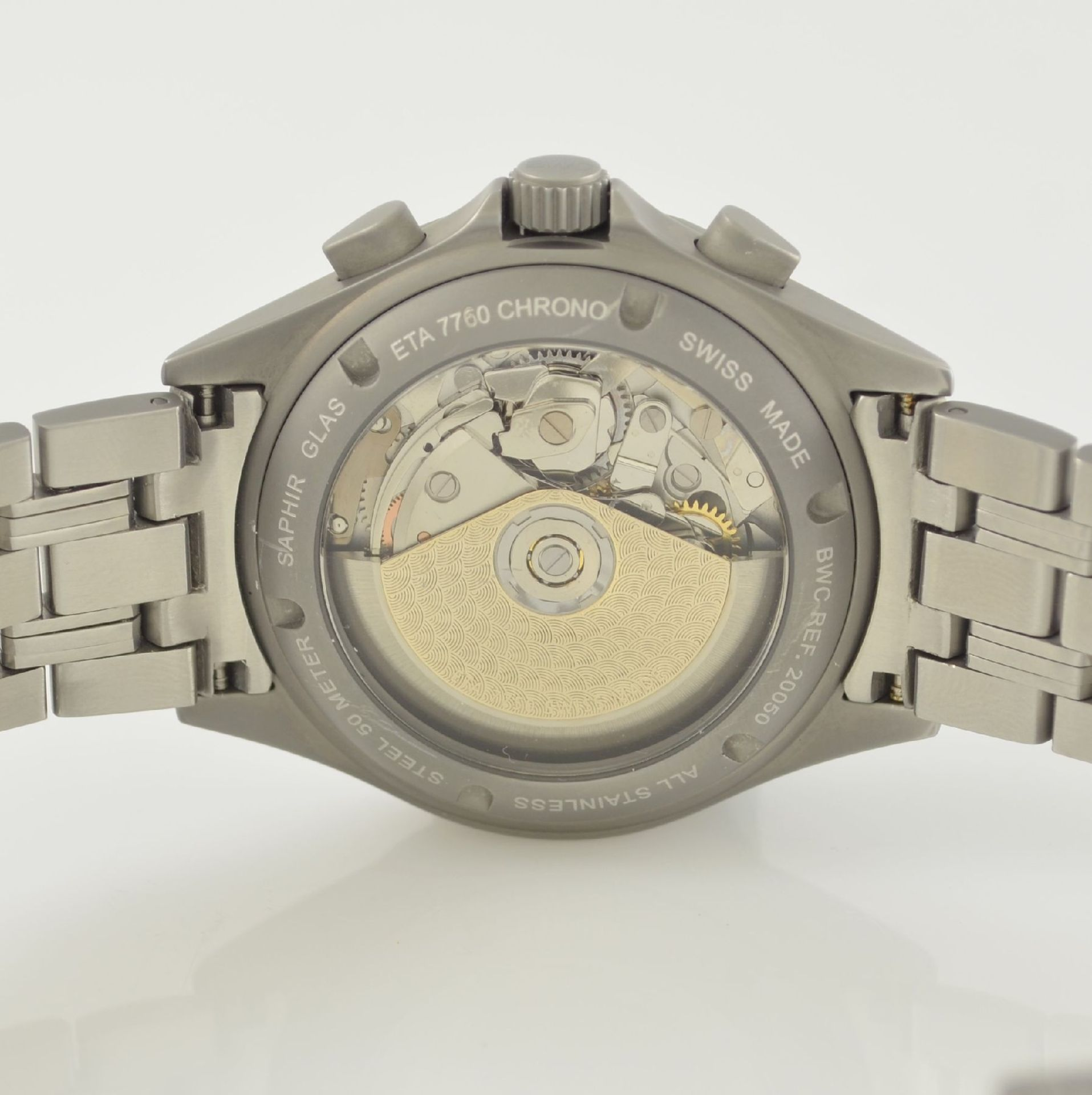 BWC Armbandchronograph, Automatik, Schweiz um 2010, matt. Edelstahlgeh. inkl. orig. Gliederband m. - Bild 6 aus 7