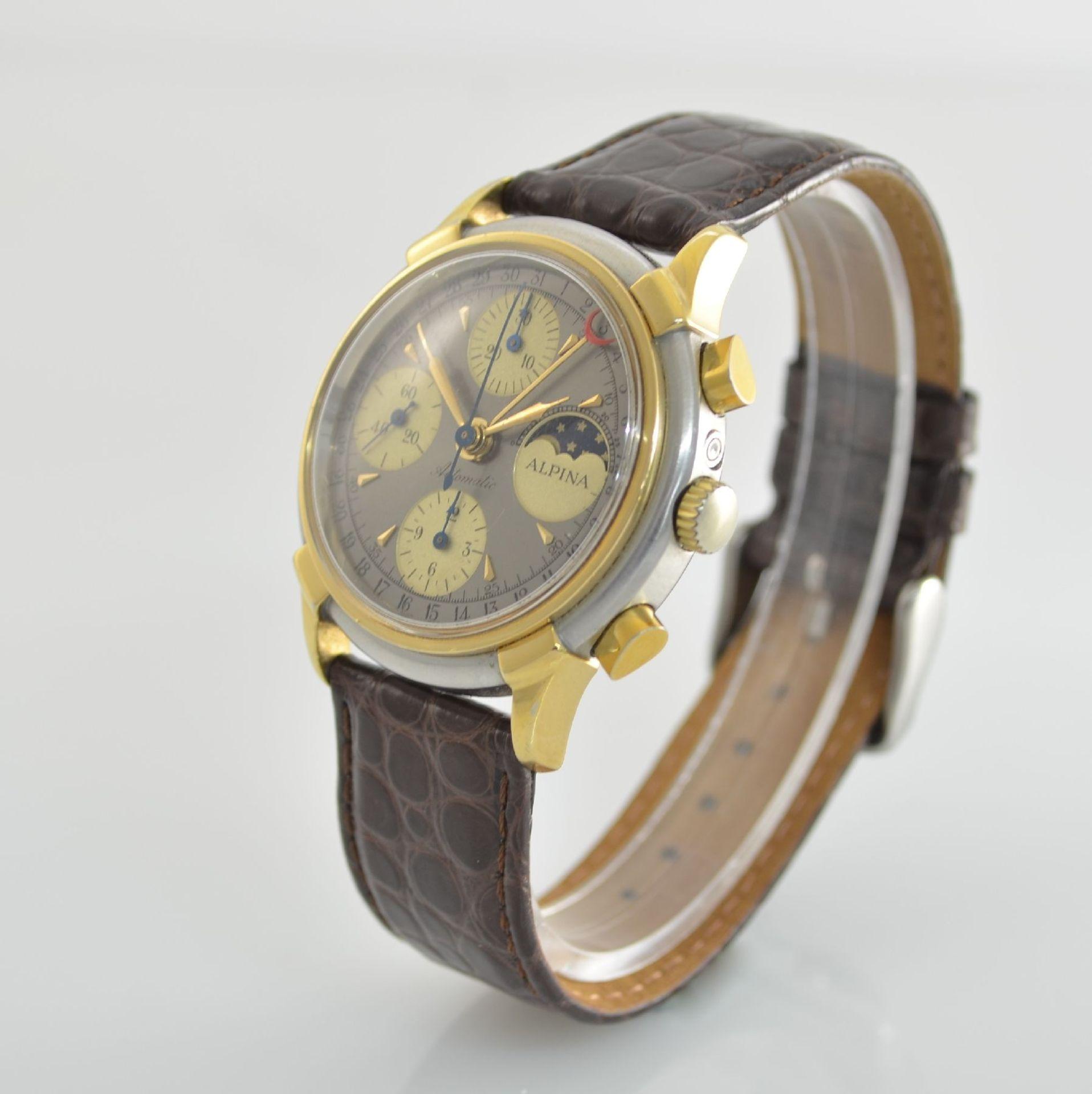 ALPINA Armbandchronograph mit Mondphase & Datum, Schweiz um 1990, Gehäuse in Edelstahl/Gold, Boden - Bild 3 aus 7