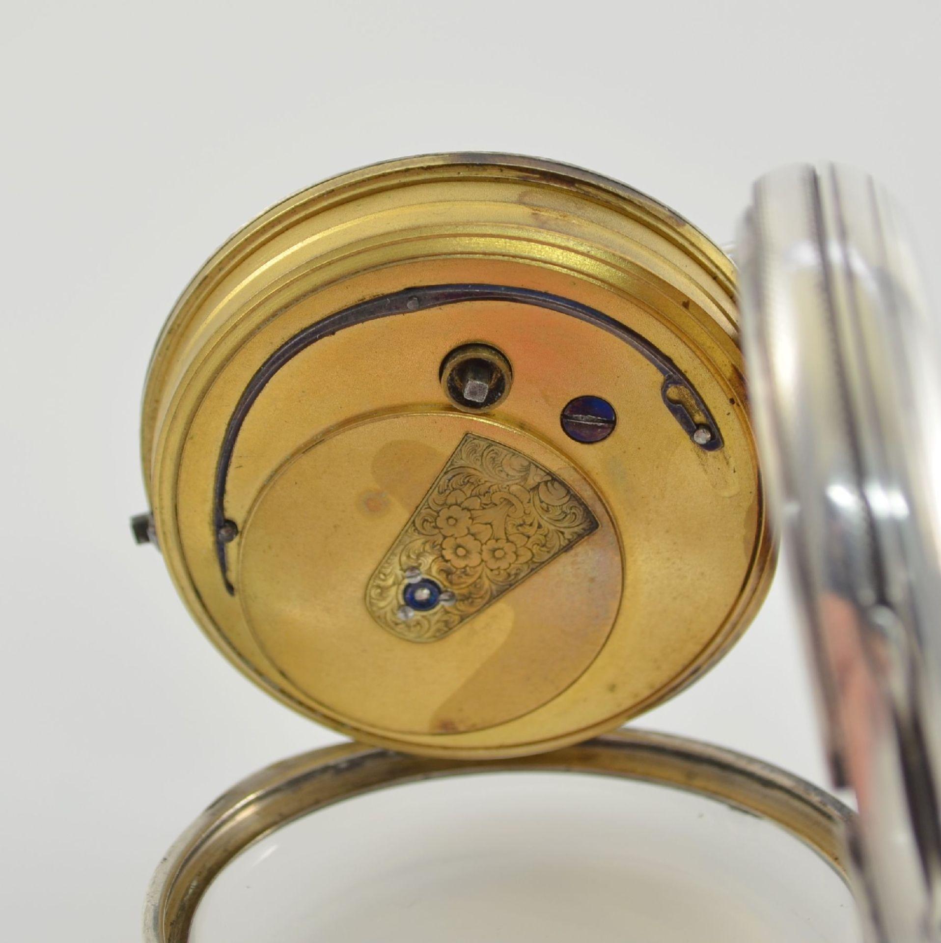 STORY & SEDMAN englische Taschenuhr in Silber, um 1870, 3-teil. Gehäuse innen m. Widmung, - Bild 7 aus 8