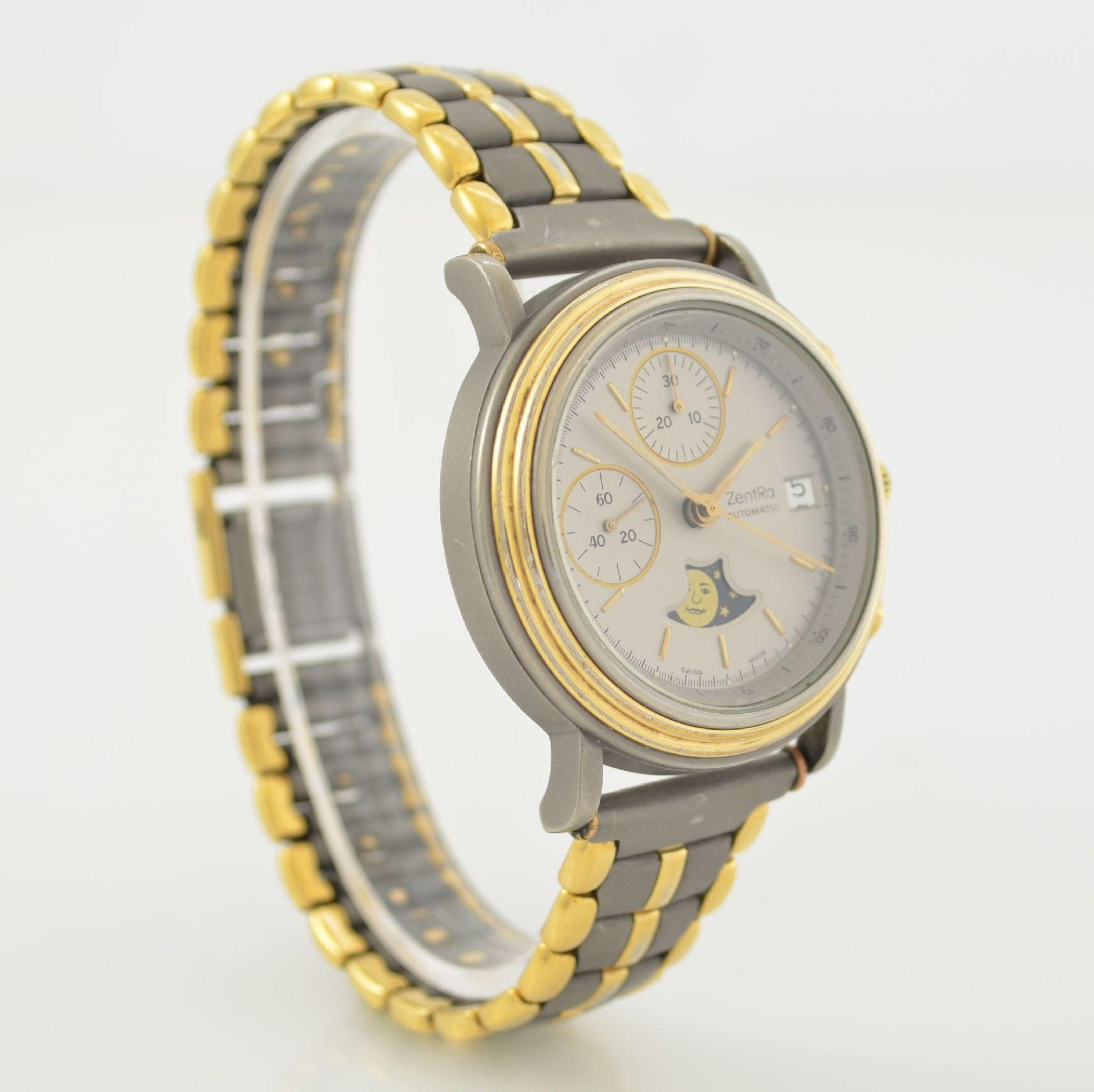 ZENTRA Herrenarmbanduhr Armbandchronograph, Automatik, Schweiz um 1987, Titangeh. inkl. - Bild 4 aus 6