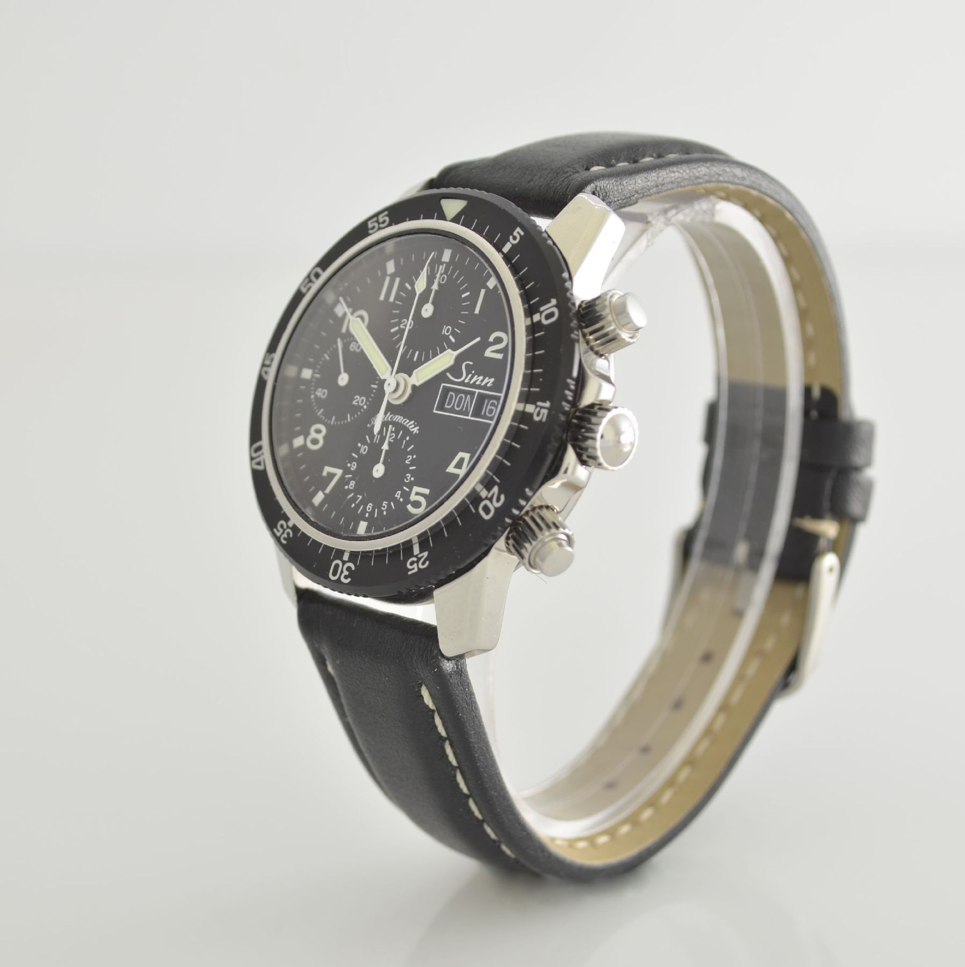 SINN Armbandchronograph, Automatik, Schweiz um 2010, pol. Edelstahlgeh. inkl. orig. Lederband m. - Bild 3 aus 6