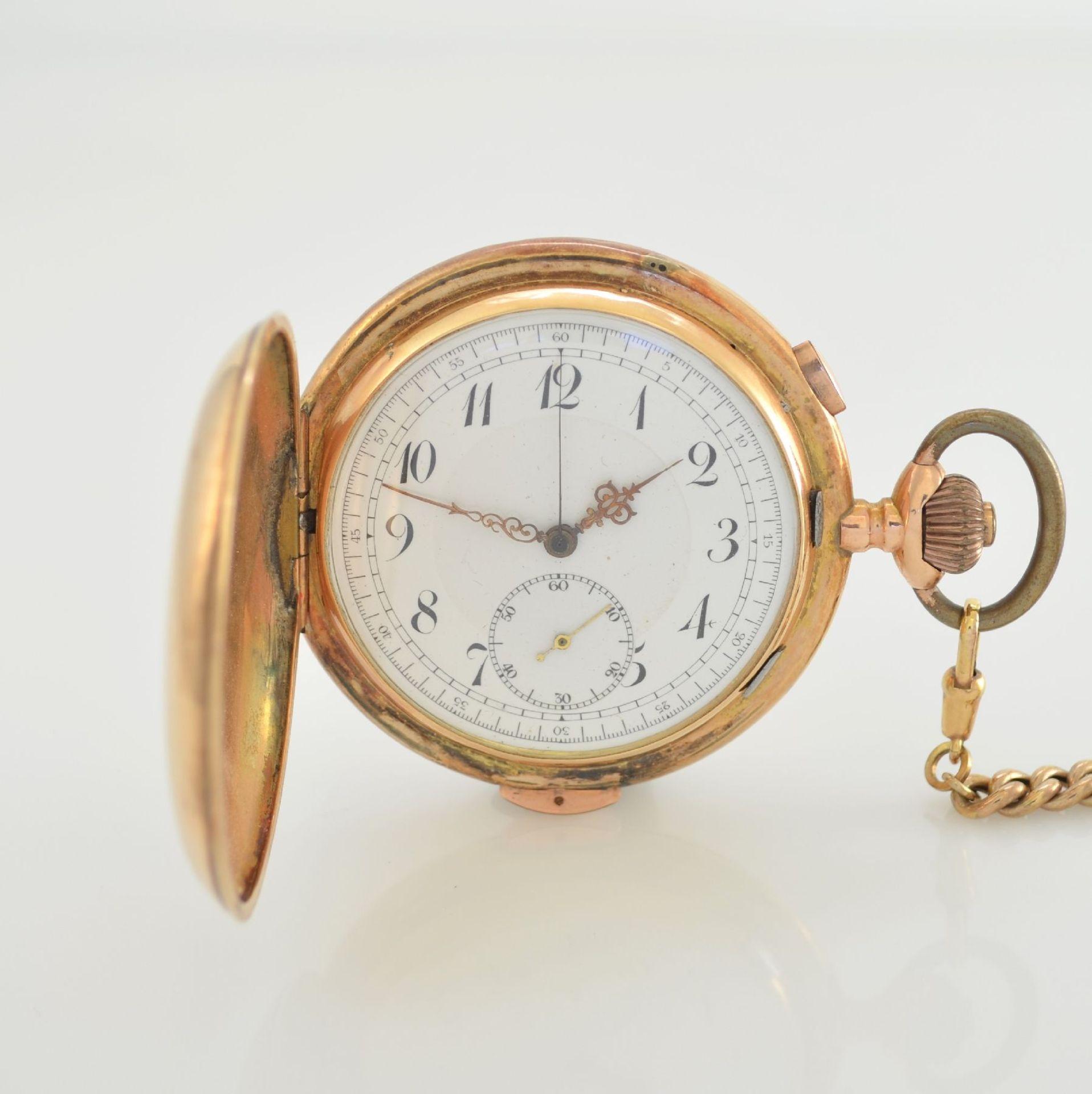 Savonette Herrentaschenuhr in RoseG 585/000 mit 1/4 Stunden Repetition und Chronograph, Schweiz um