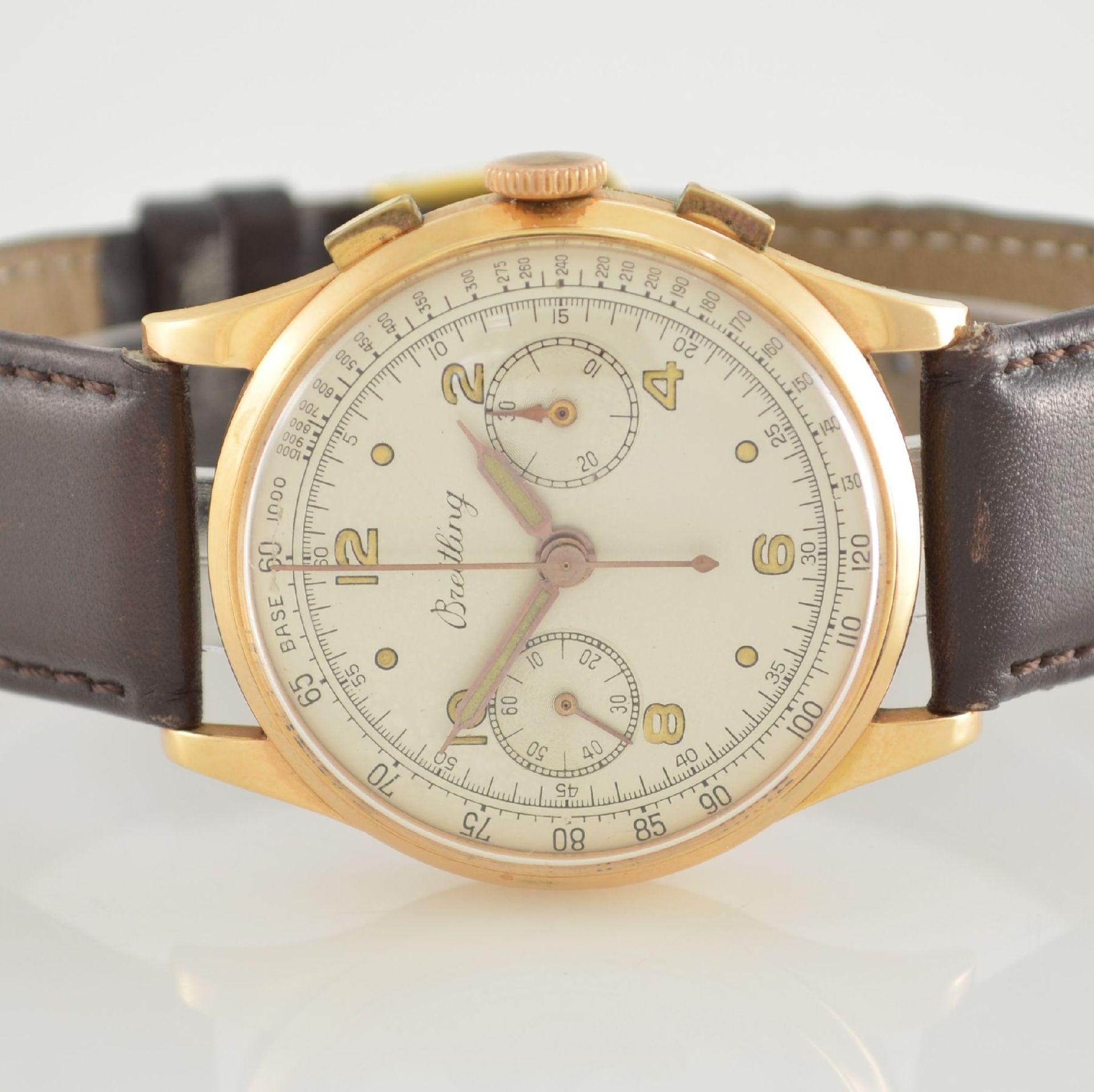 Herrenarmbanduhr mit Chronograph in 750/000 RoseG, Schweiz um 1950, Boden & Glasrand aufgedr., rest. - Bild 2 aus 9