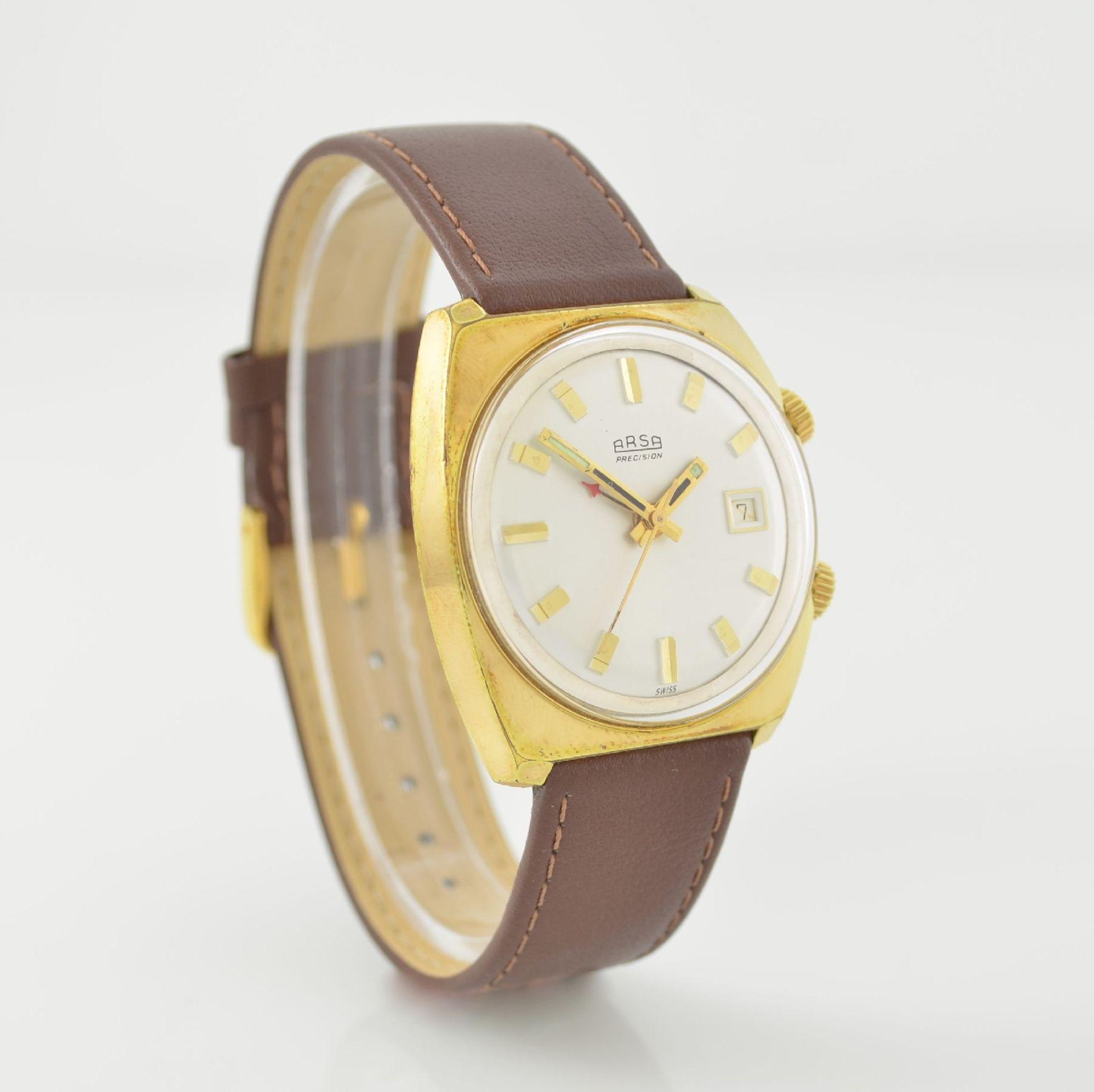 Konvolut: 2 Armbanduhren, beide Schweiz um 1970, beide Metall verg., 1 x Arsa Armbandwecker, Boden - Bild 4 aus 12