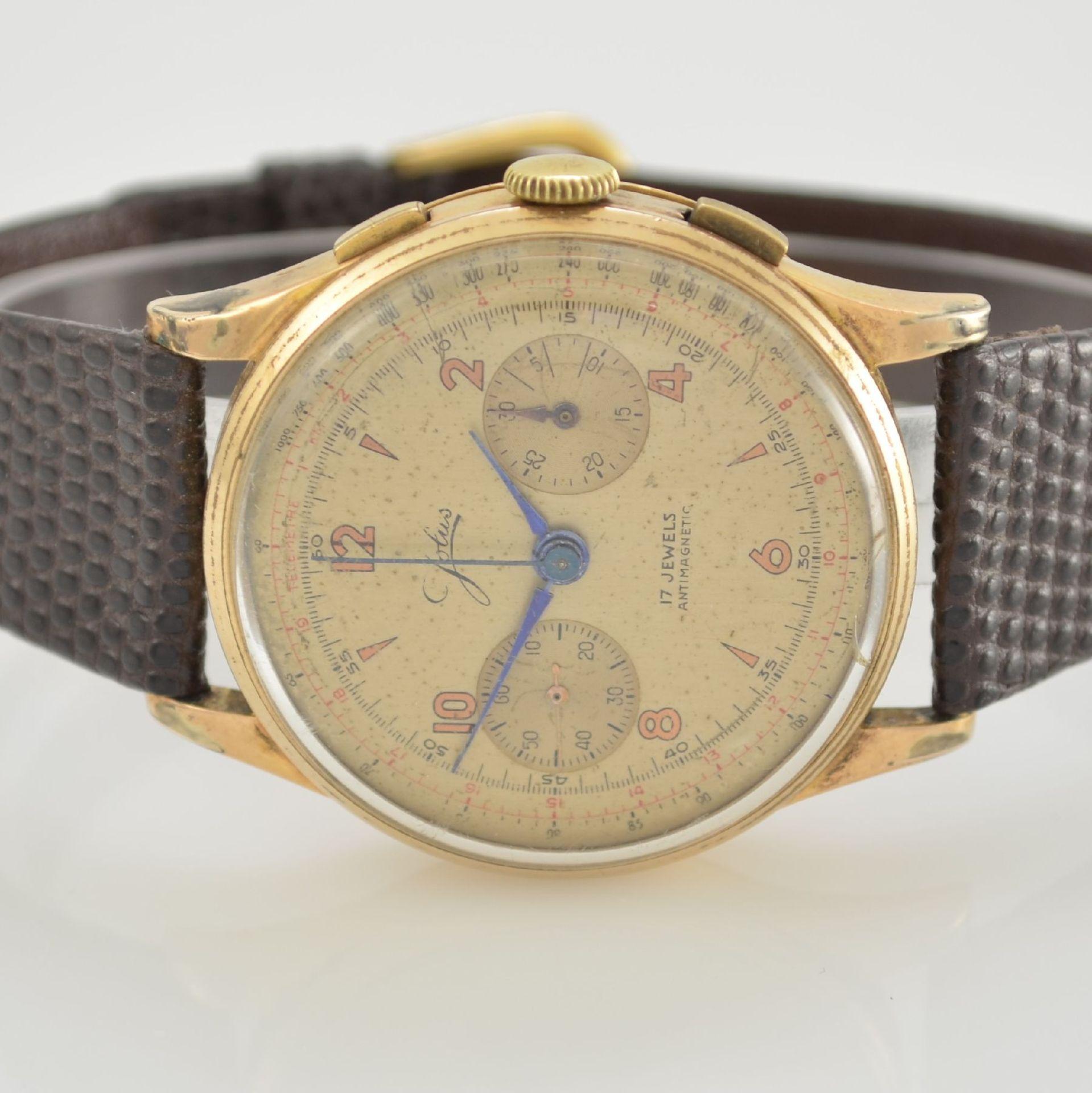 JOLUS Armbandchronograph in RoseG 750/000, Handaufzug, Schweiz um 1948, Boden & verg. Glasrand - Bild 2 aus 8