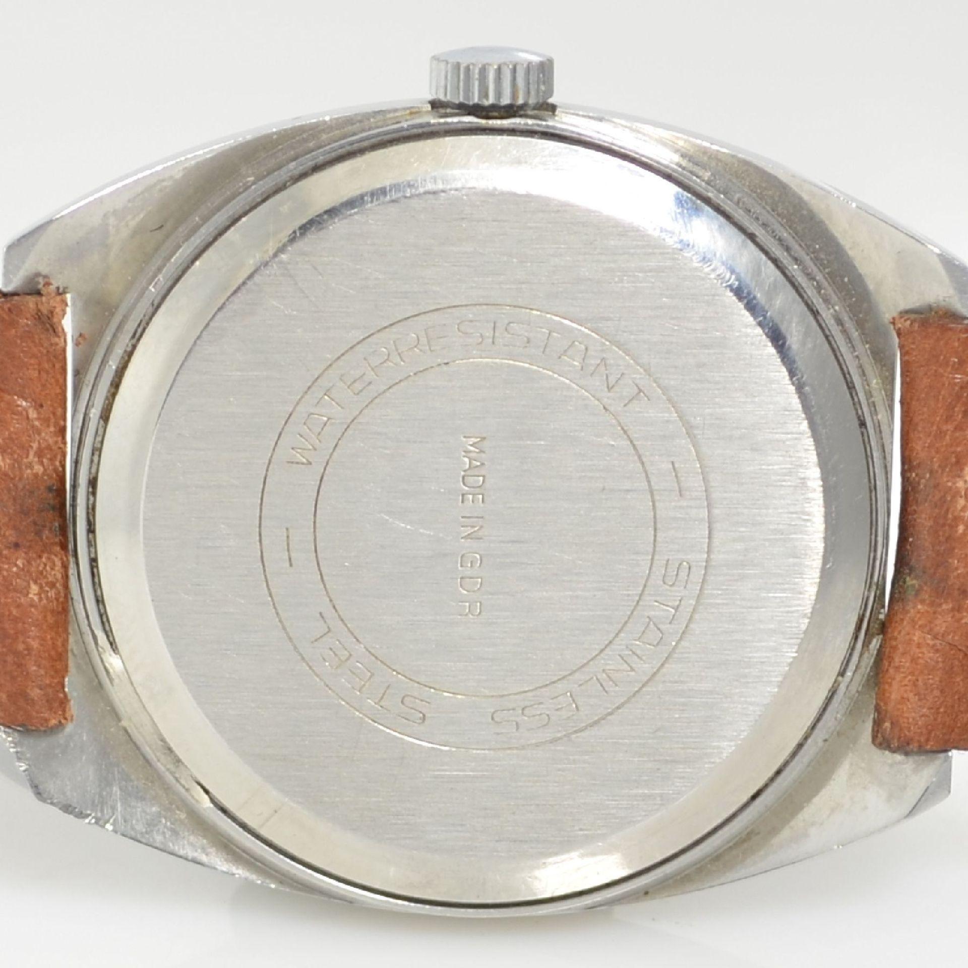 GLASHÜTTE Armbanduhr Spezimatic in Edelstahl, Automatik, DDR um 1970, Boden aufgedr., ausgef. - Bild 5 aus 5