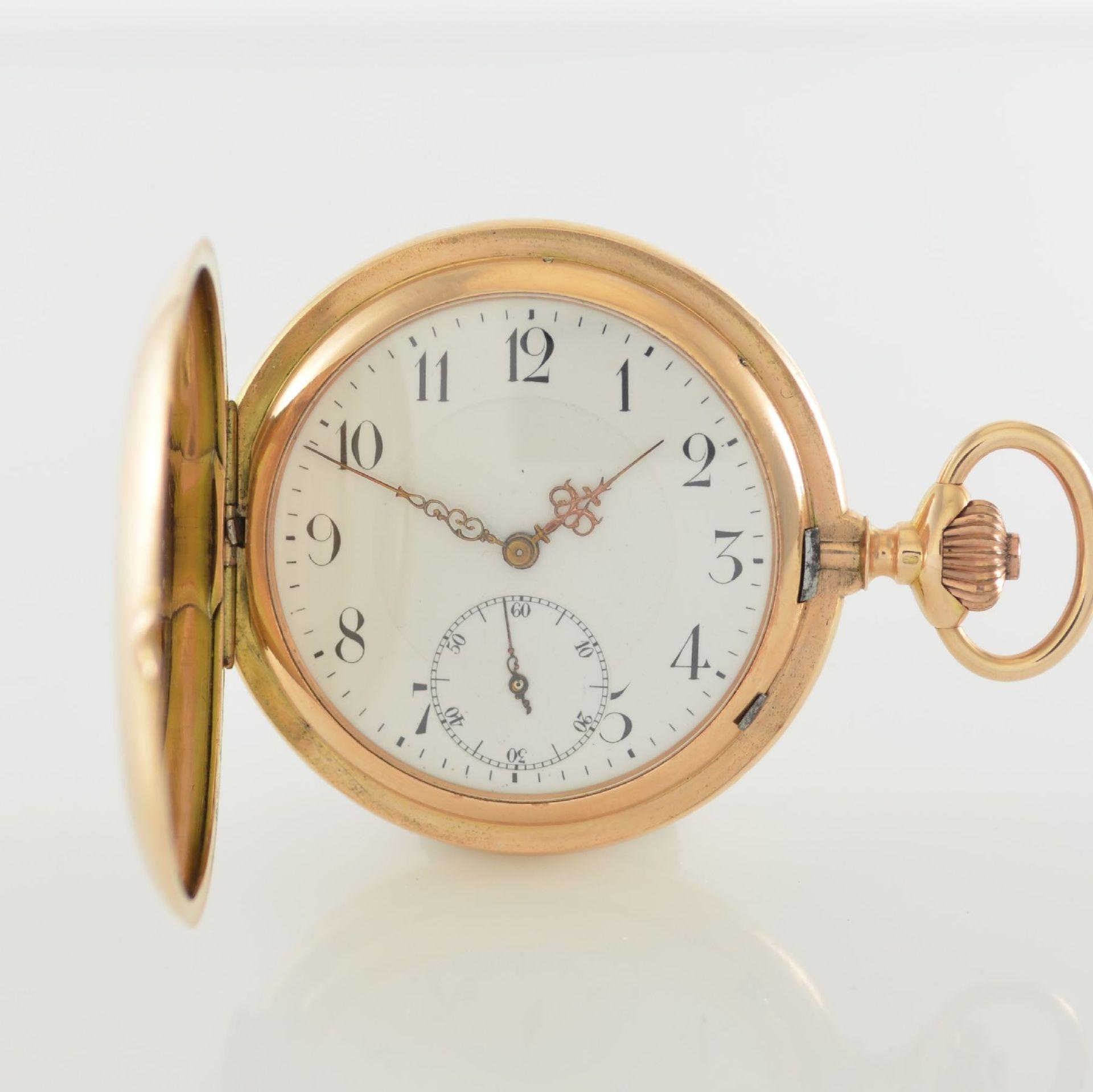Herrensavonette in RG 585/000, Schweiz um 1900, guill. 3-Deckel Goldgeh. berieben/dell., à-goutte-