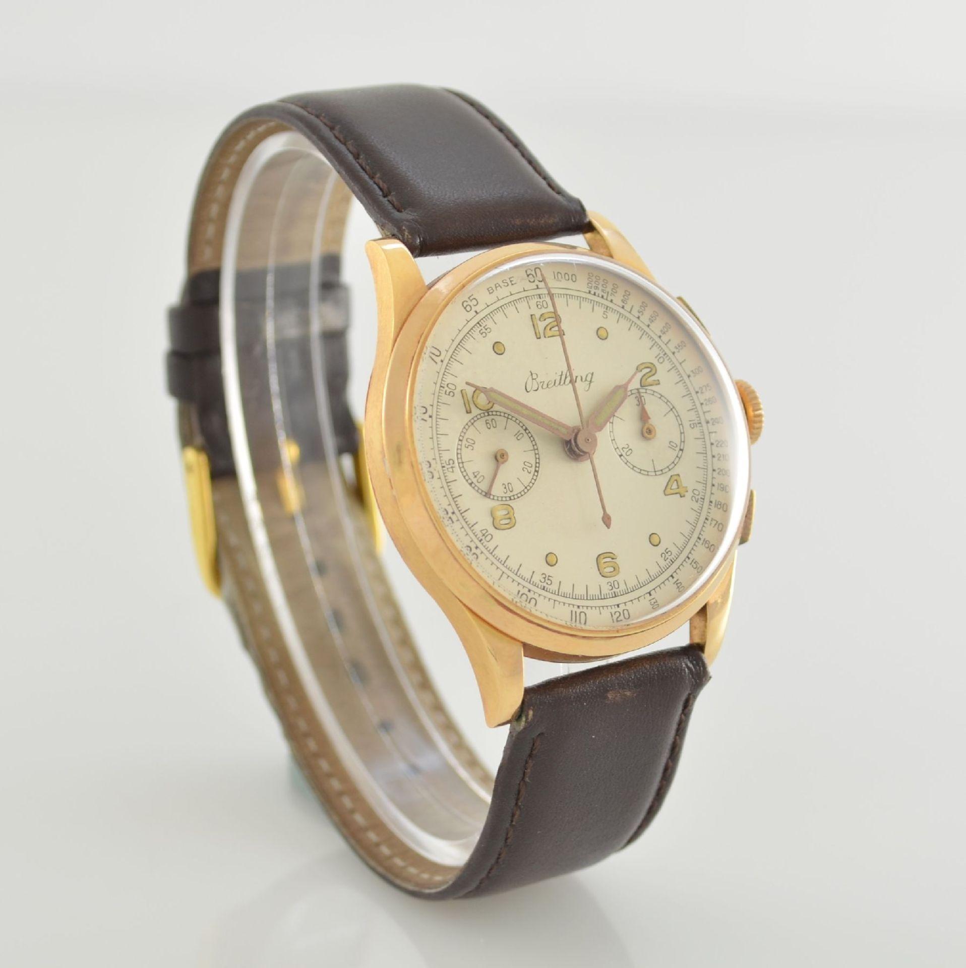 Herrenarmbanduhr mit Chronograph in 750/000 RoseG, Schweiz um 1950, Boden & Glasrand aufgedr., rest. - Bild 4 aus 9