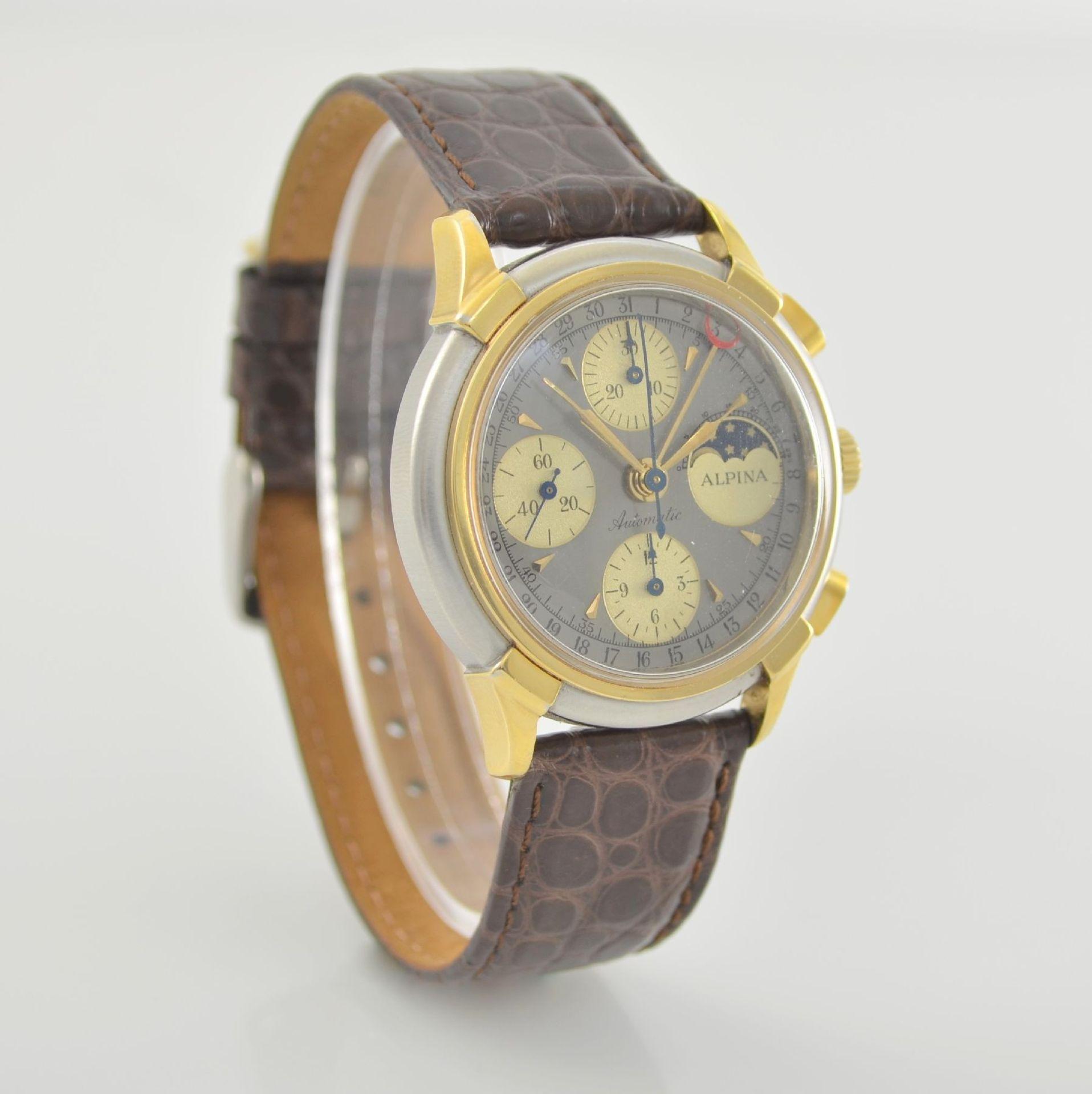 ALPINA Armbandchronograph mit Mondphase & Datum, Schweiz um 1990, Gehäuse in Edelstahl/Gold, Boden - Bild 4 aus 7