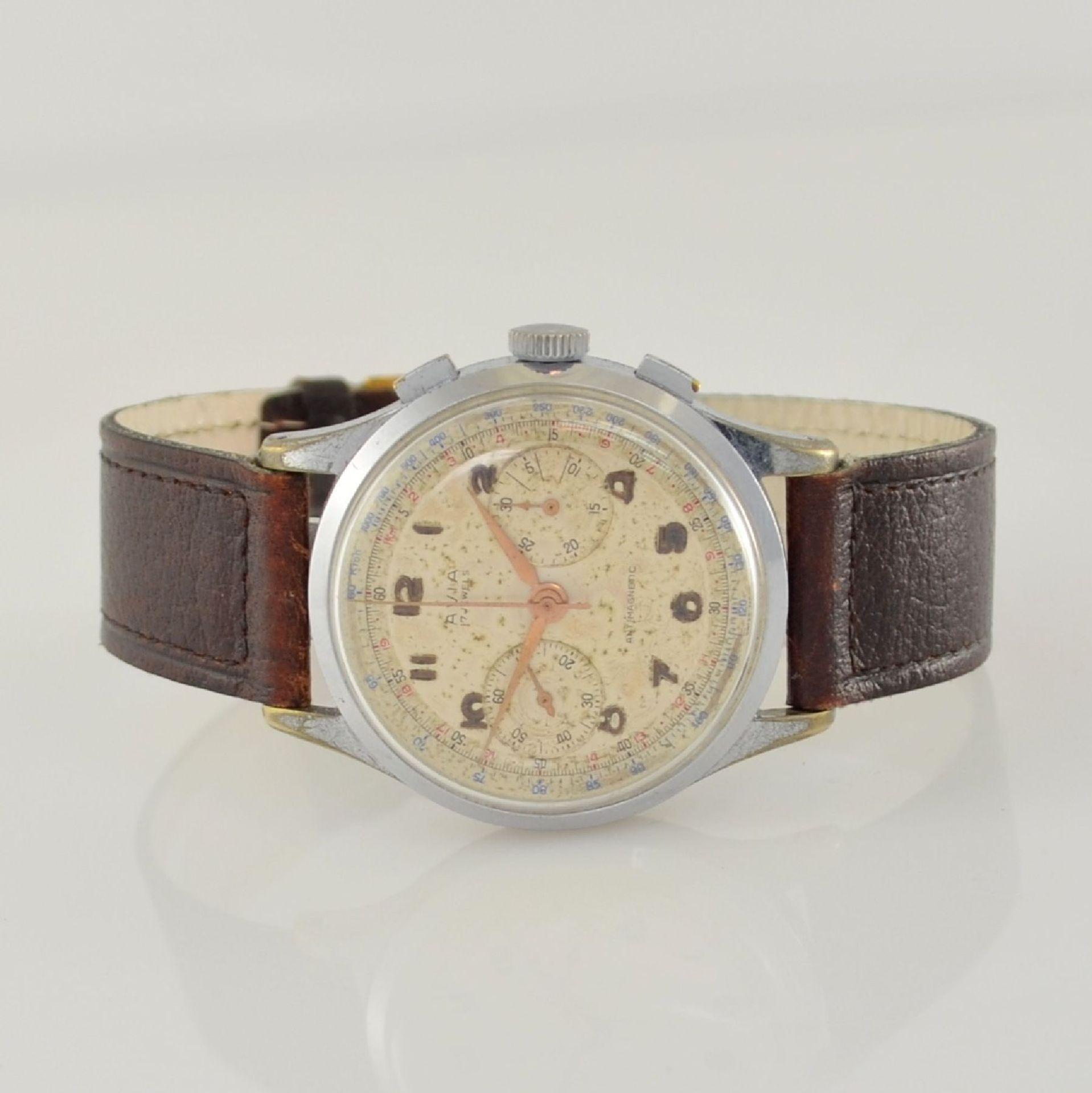 AVIA Armbandchronograph, Handaufzug, Schweiz für den dtsch. Markt um 1940, verchr. Metallgeh.
