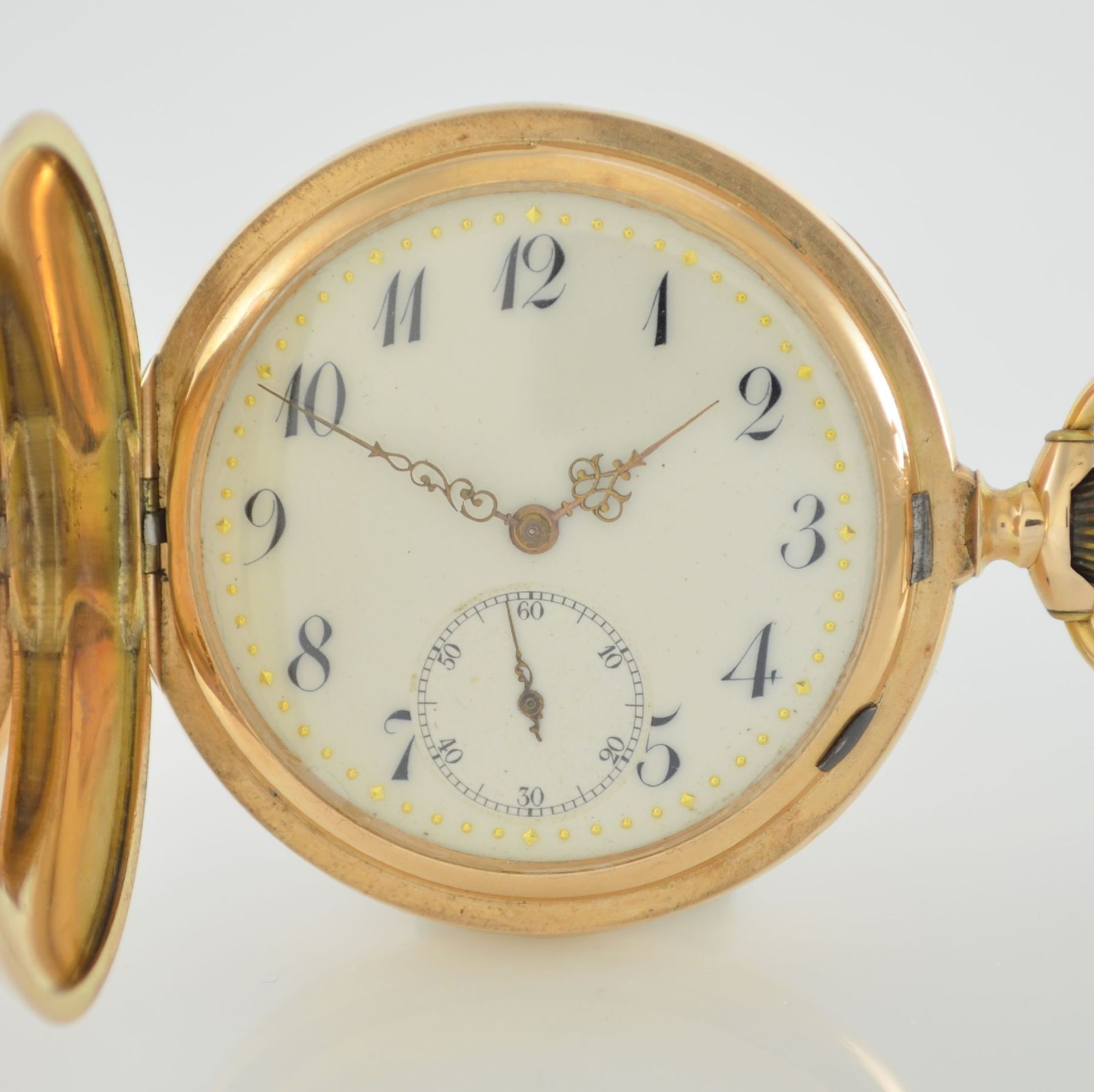 Herrensavonette in RG 585/000, Schweiz um 1900, guill. 3-Deckel-Goldgeh. dell. m. à- goutte- - Bild 2 aus 7