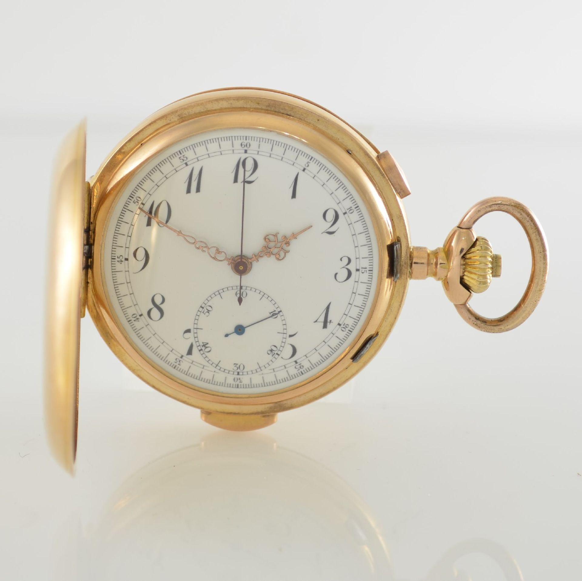 Herrensavonette mit 1/4 Std.-Repetition & Chronograph in RG 750/000, Schweiz um 1910, glattes 3-