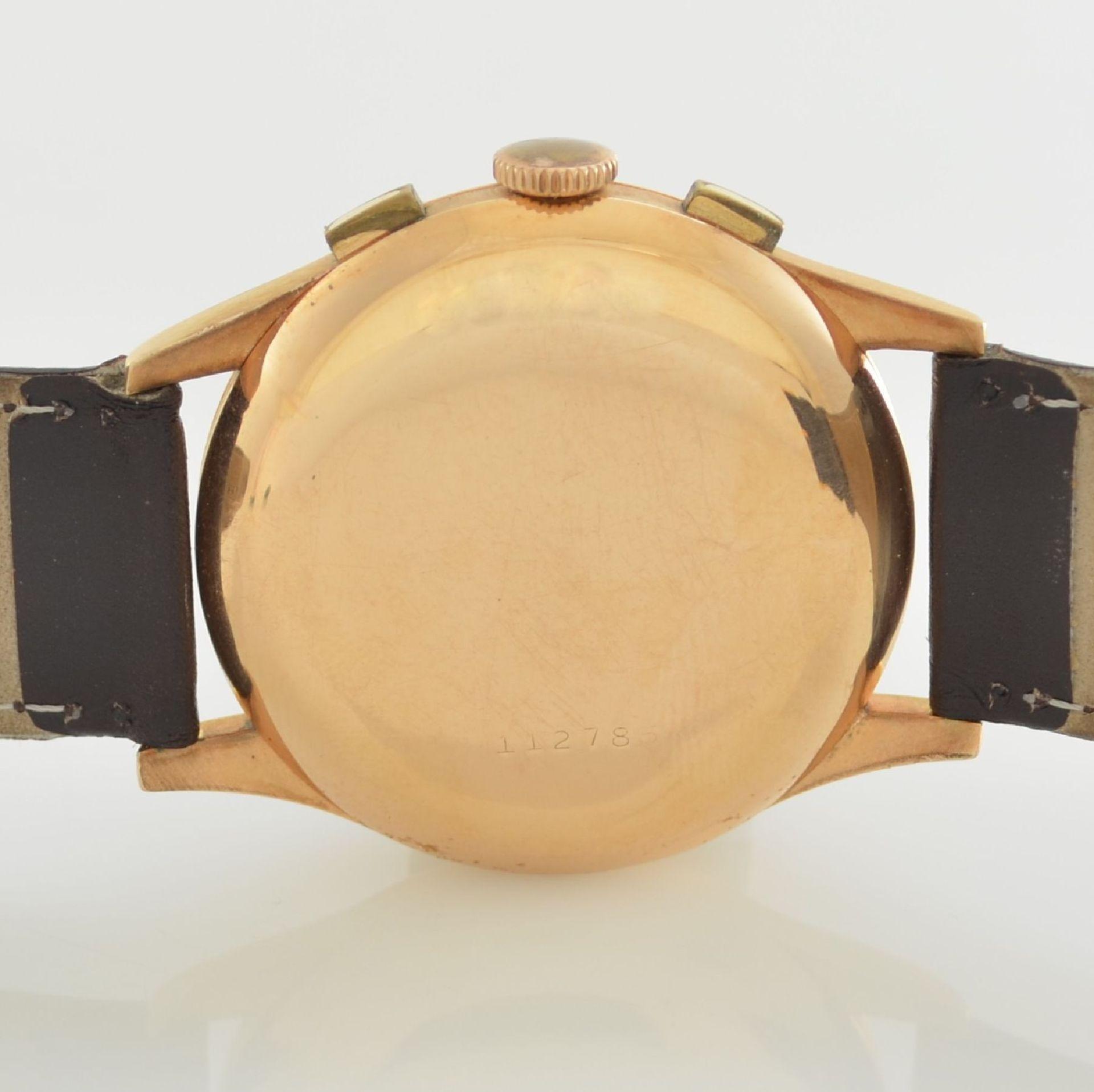 Herrenarmbanduhr mit Chronograph in 750/000 RoseG, Schweiz um 1950, Boden & Glasrand aufgedr., rest. - Bild 6 aus 9