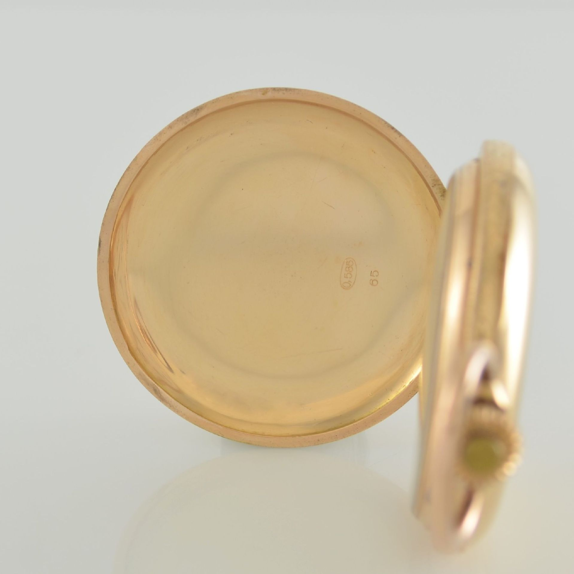 SYSTÉME GLASHÜTTE Herrensavonette in RG 585/000, Schweiz/Deutschland um 1900, glattes 3-Deckel - Bild 3 aus 8