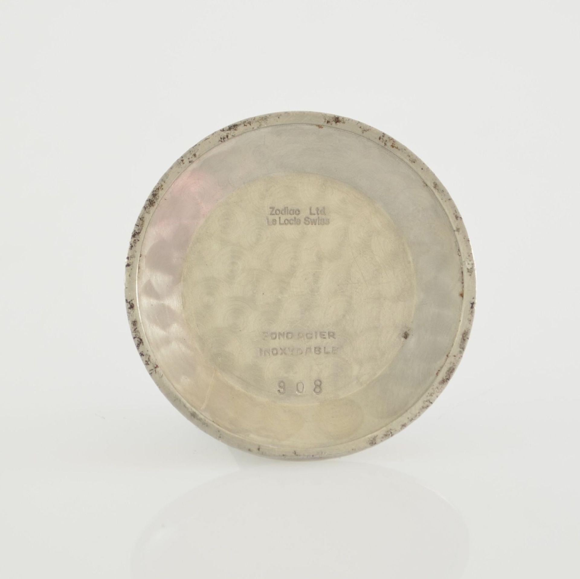 ZODIAC Herrenarmbanduhr mit Vollkalender, Schweiz um 1955, Automatik, verg. Geh., Lünette & - Bild 9 aus 9