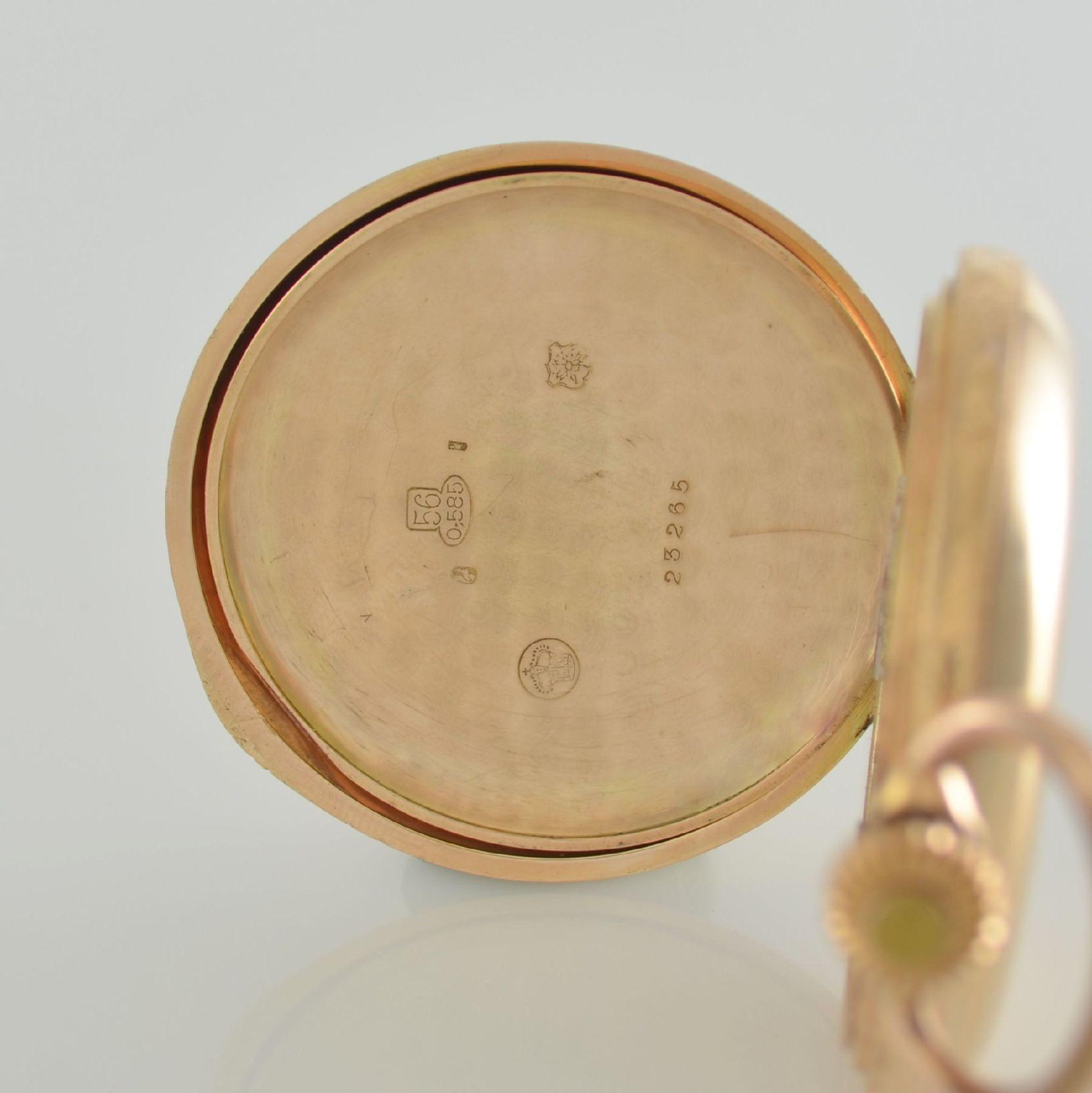 SYSTÉME GLASHÜTTE Herrensavonette in RG 585/000, Schweiz/Deutschland um 1900, glattes 3-Deckel - Bild 7 aus 8