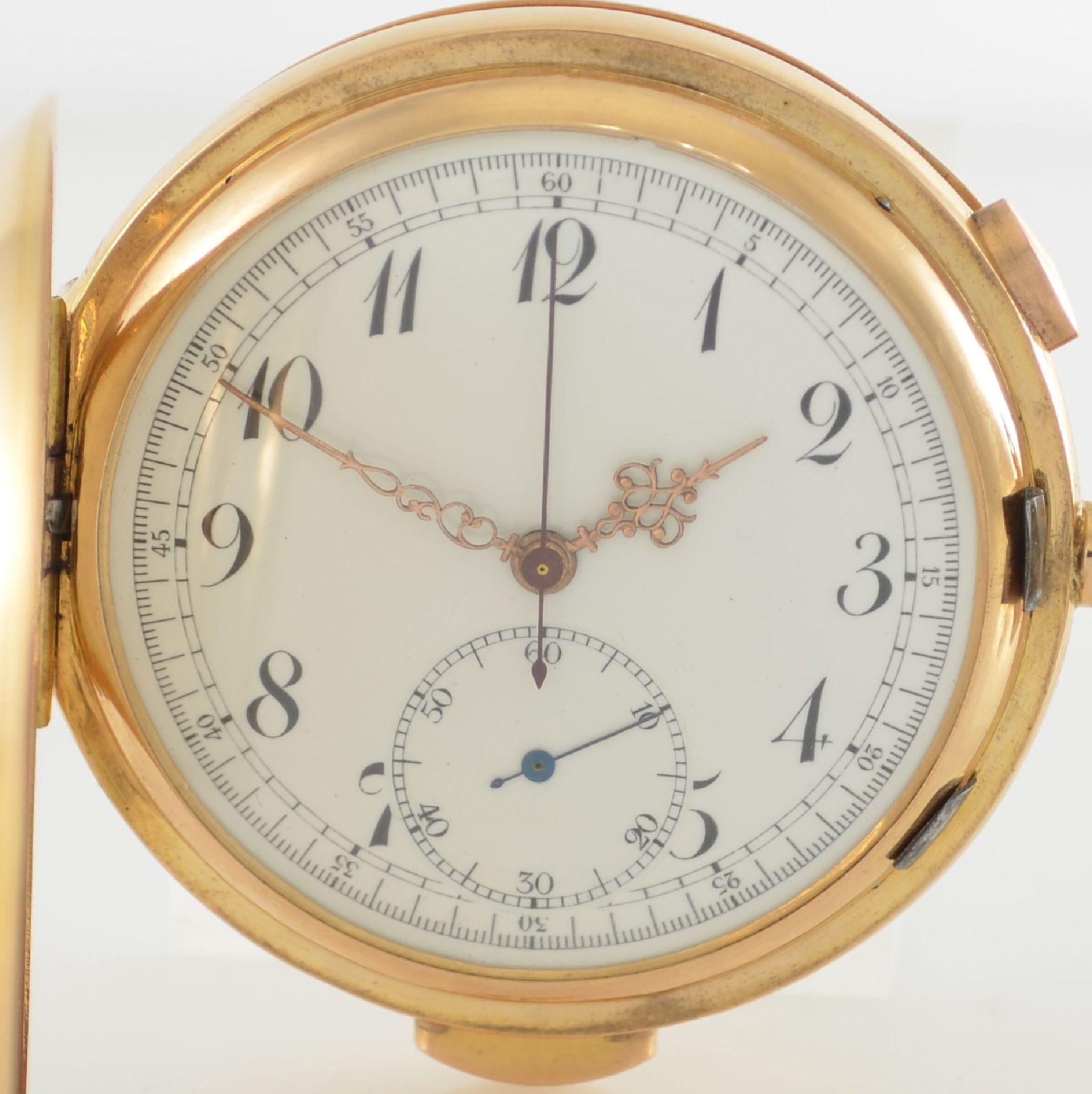 Herrensavonette mit 1/4 Std.-Repetition & Chronograph in RG 750/000, Schweiz um 1910, glattes 3- - Bild 2 aus 6