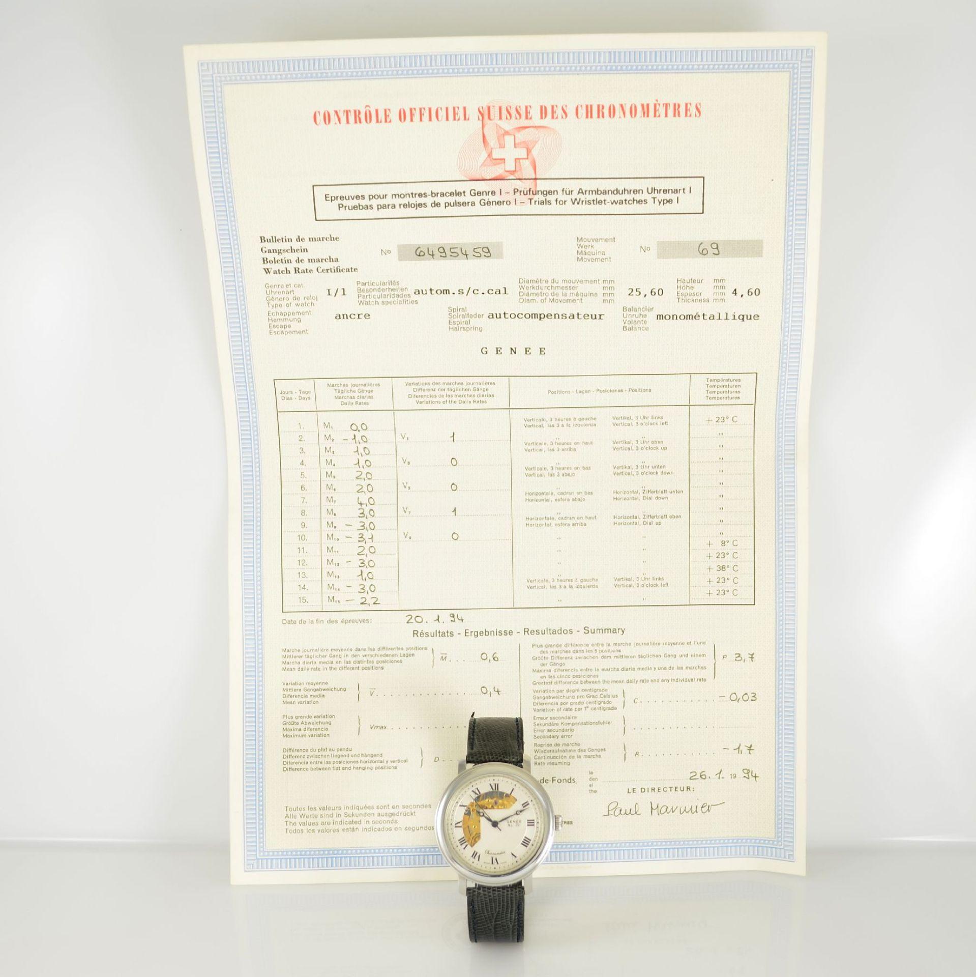 GENÉE No. 29 Chronometer-Herrenarmbanduhr in Stahl, Schweiz lt. beiliegendem Chronometerzertifikat - Bild 8 aus 8