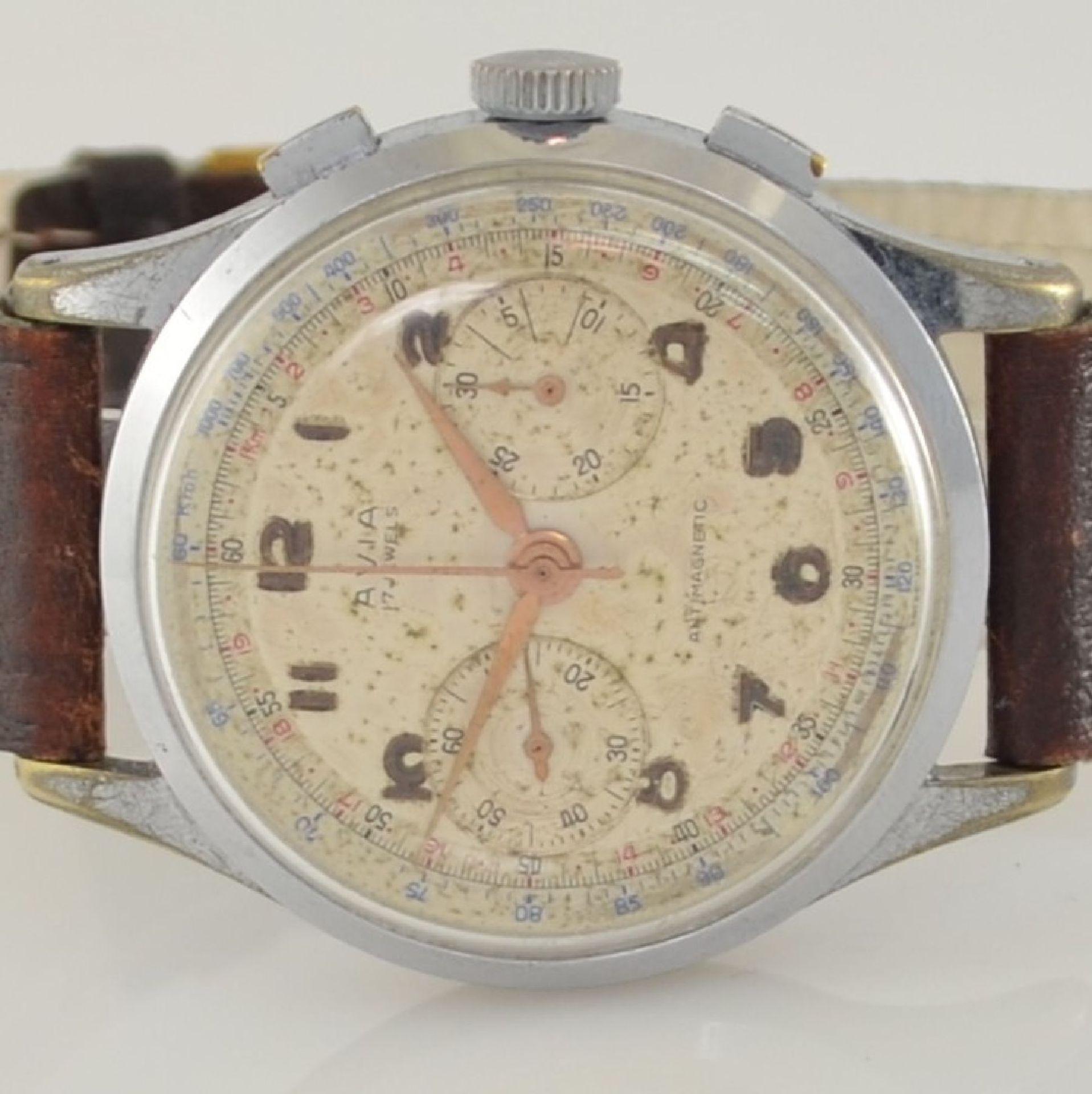 AVIA Armbandchronograph, Handaufzug, Schweiz für den dtsch. Markt um 1940, verchr. Metallgeh. - Bild 2 aus 10