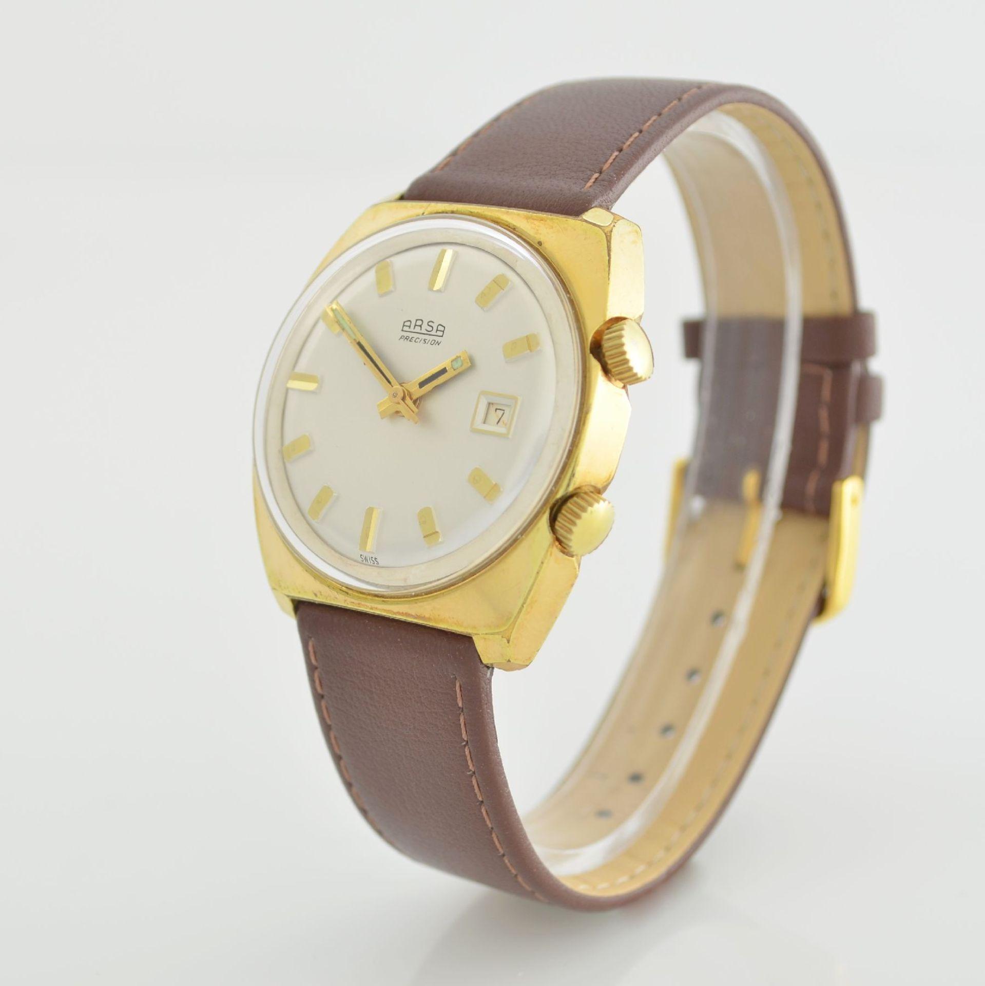 Konvolut: 2 Armbanduhren, beide Schweiz um 1970, beide Metall verg., 1 x Arsa Armbandwecker, Boden - Bild 3 aus 12