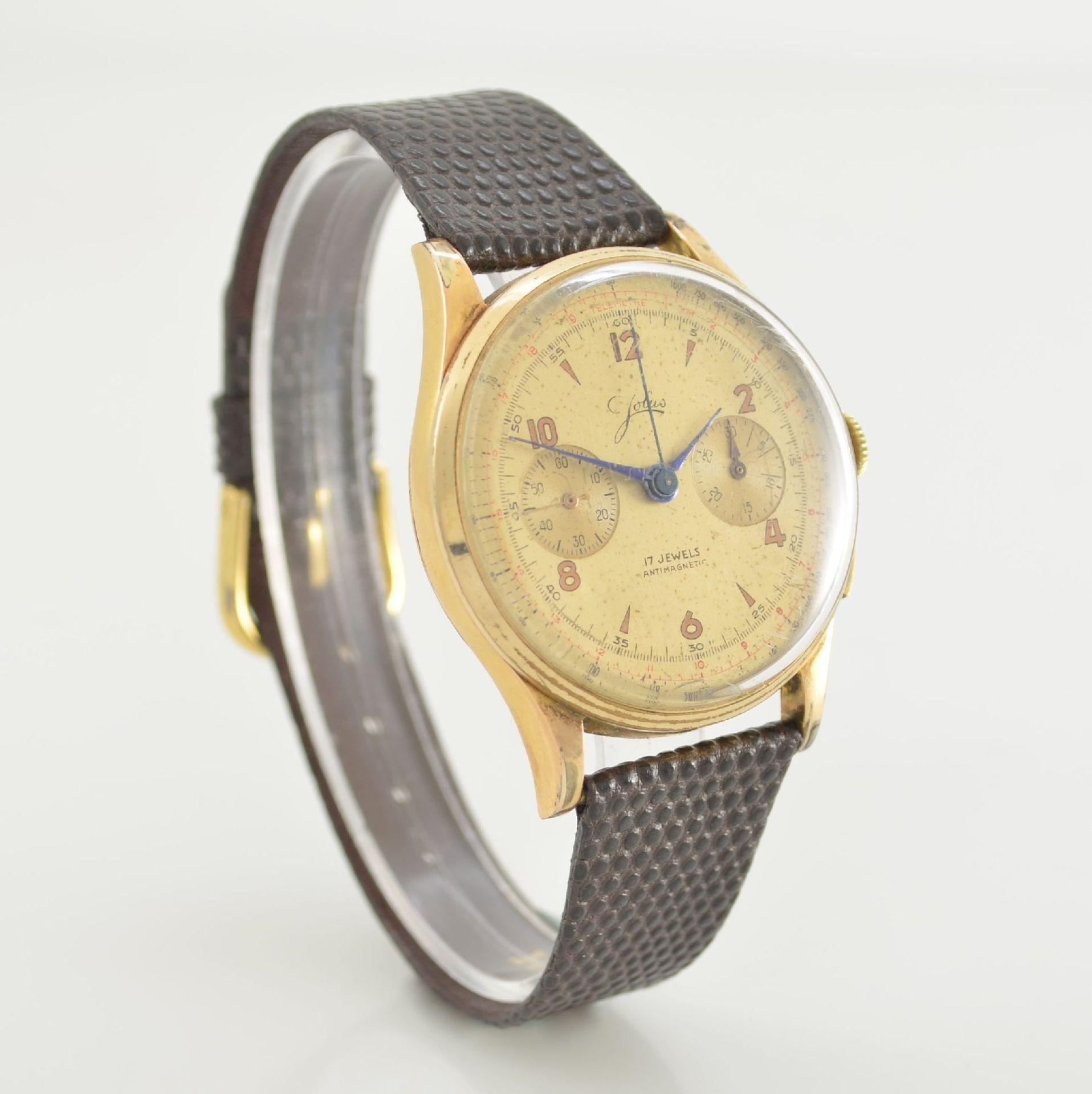JOLUS Armbandchronograph in RoseG 750/000, Handaufzug, Schweiz um 1948, Boden & verg. Glasrand - Bild 5 aus 8