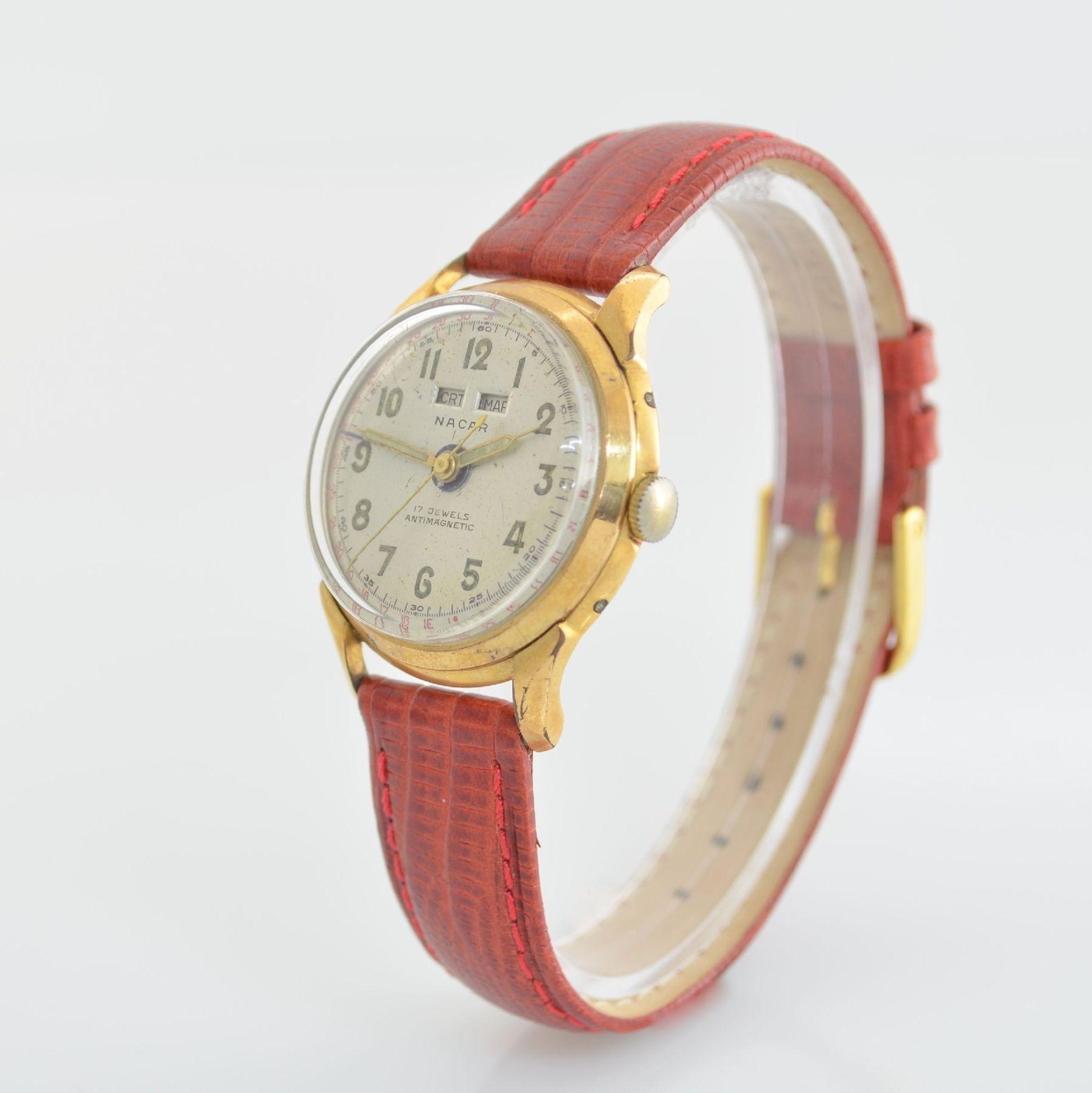 Konvolut: 2 Armbanduhren mit Kalender bzw. Datum, Schweiz um 1950-1960, Handaufzug, 1) NACAR m. - Bild 3 aus 12