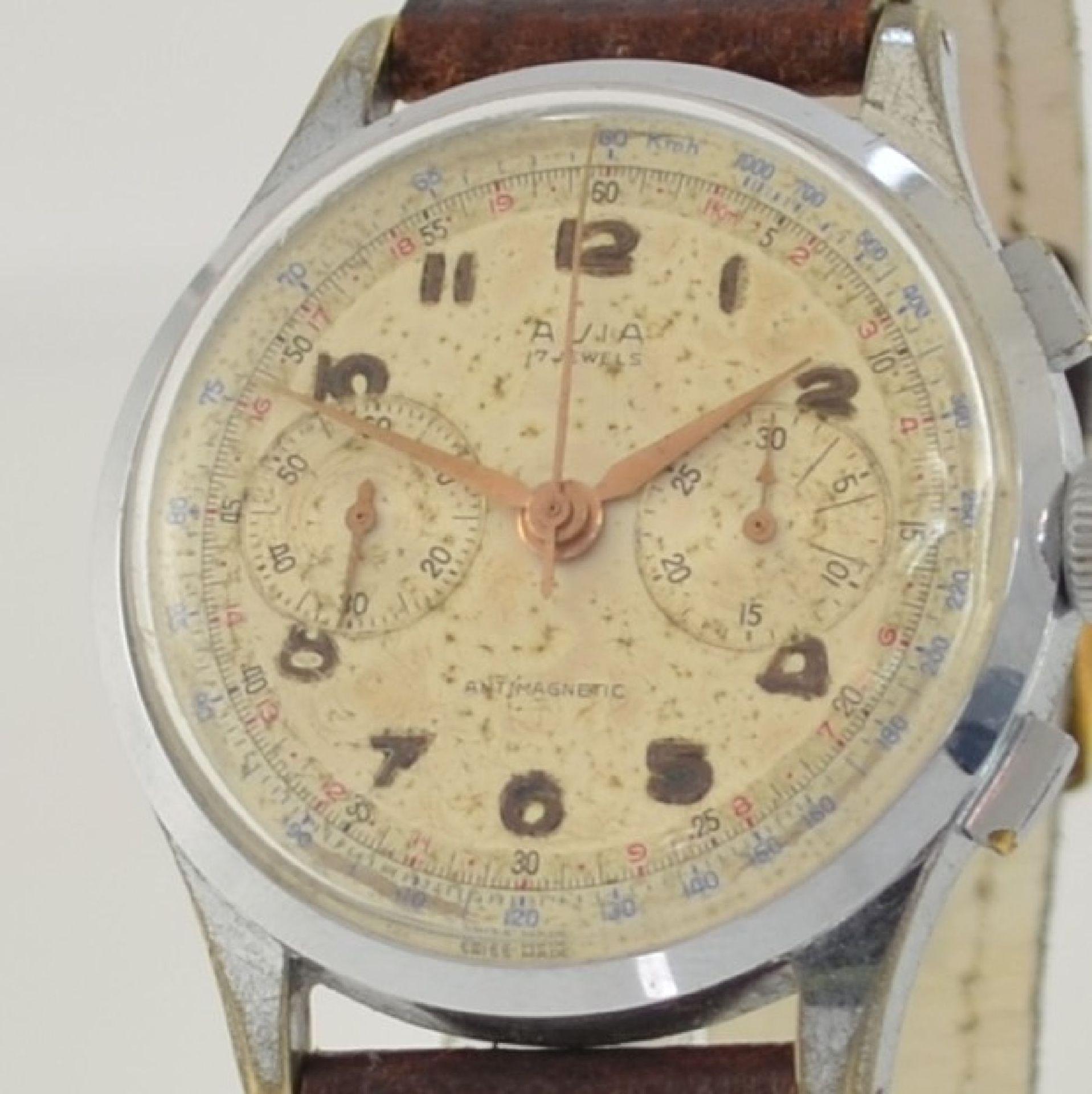 AVIA Armbandchronograph, Handaufzug, Schweiz für den dtsch. Markt um 1940, verchr. Metallgeh. - Bild 4 aus 10