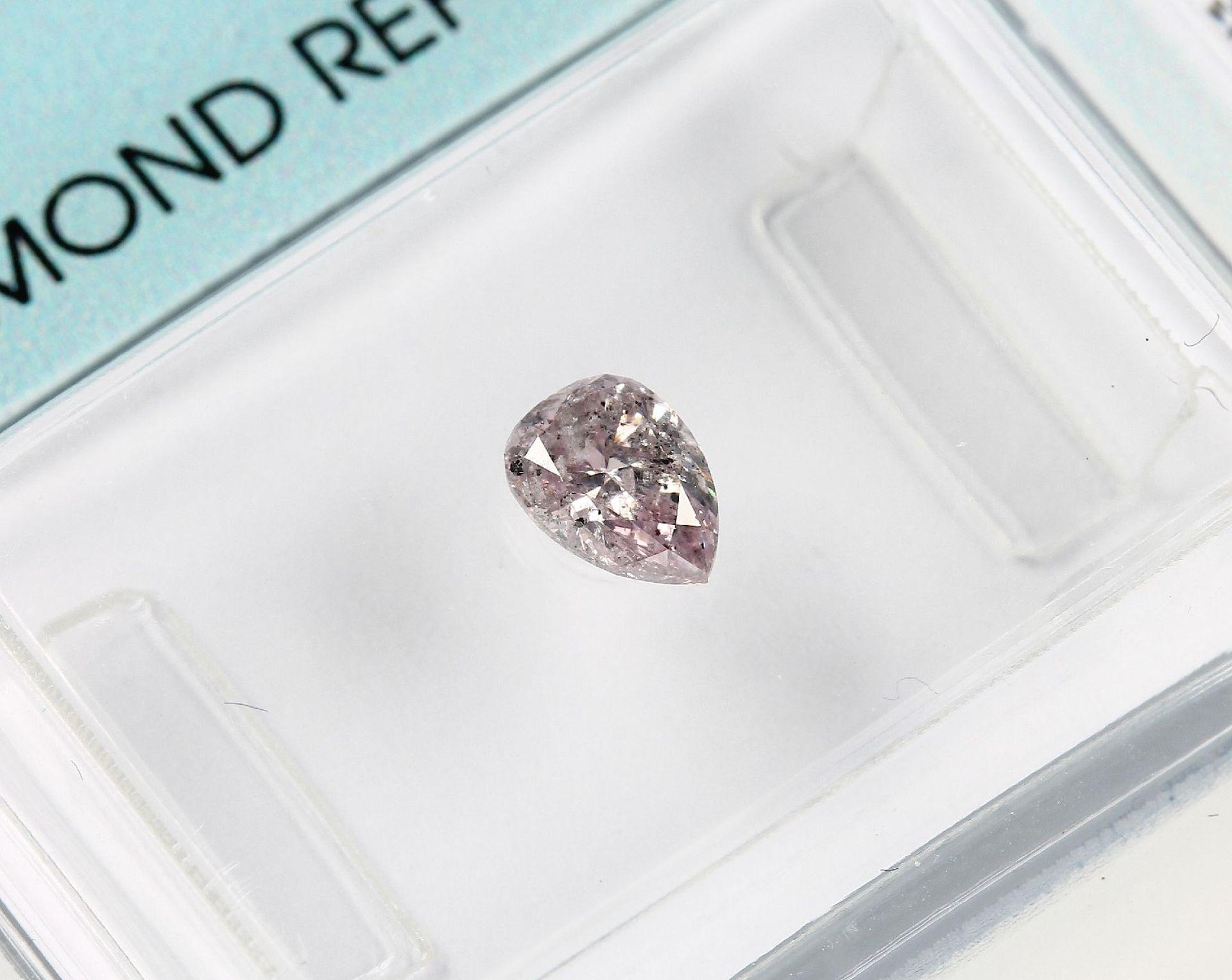 Los 70016 - Loser Diamant, 0.35 ct Natural fancy light Grey-Pink/p2, tropfenf. facett., verschweißt, mit IGI-