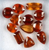Lot lose Mandarin Granate, zus. ca. 20.2 ct, oval, rund, triangelf. und im Kissenschliff, versch.