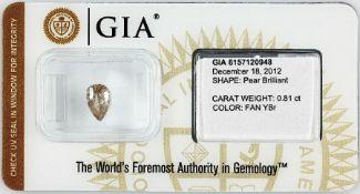 Loser Diamant, 0.81 ct Natural fancy Yellow-Brown, tropfenf. facett., verschweißt, mit GIA-Expertise