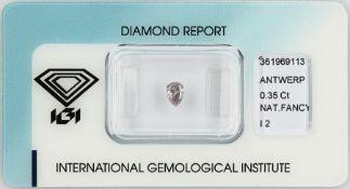 Loser Diamant, 0.35 ct Natural fancy light Grey-Pink/p2, tropfenf. facett., verschweißt, mit IGI-