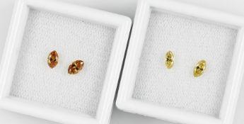 Lot 2 lose Diamantpaare, best. aus: 2 x navettef. facett., zus. ca. 0.30 ct fancy yellow(beh.)/vs, 2