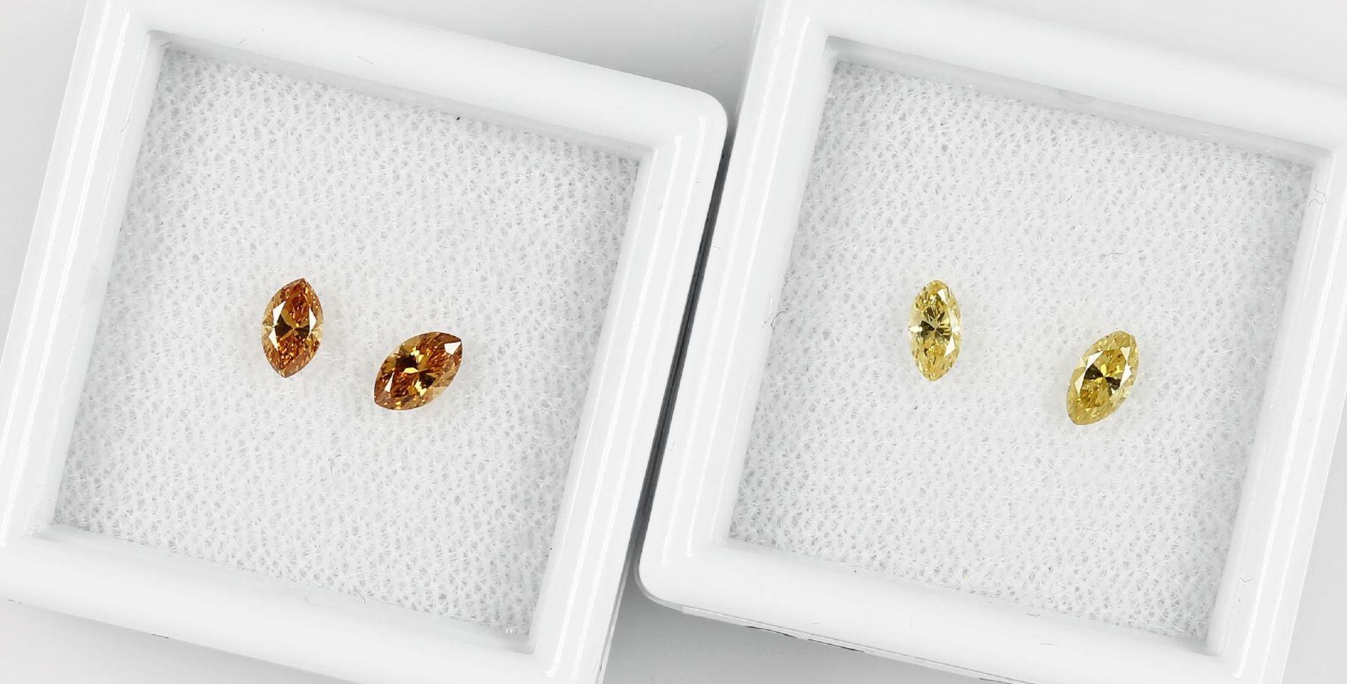 Los 70027 - Lot 2 lose Diamantpaare, best. aus: 2 x navettef. facett., zus. ca. 0.30 ct fancy yellow(beh.)/vs, 2