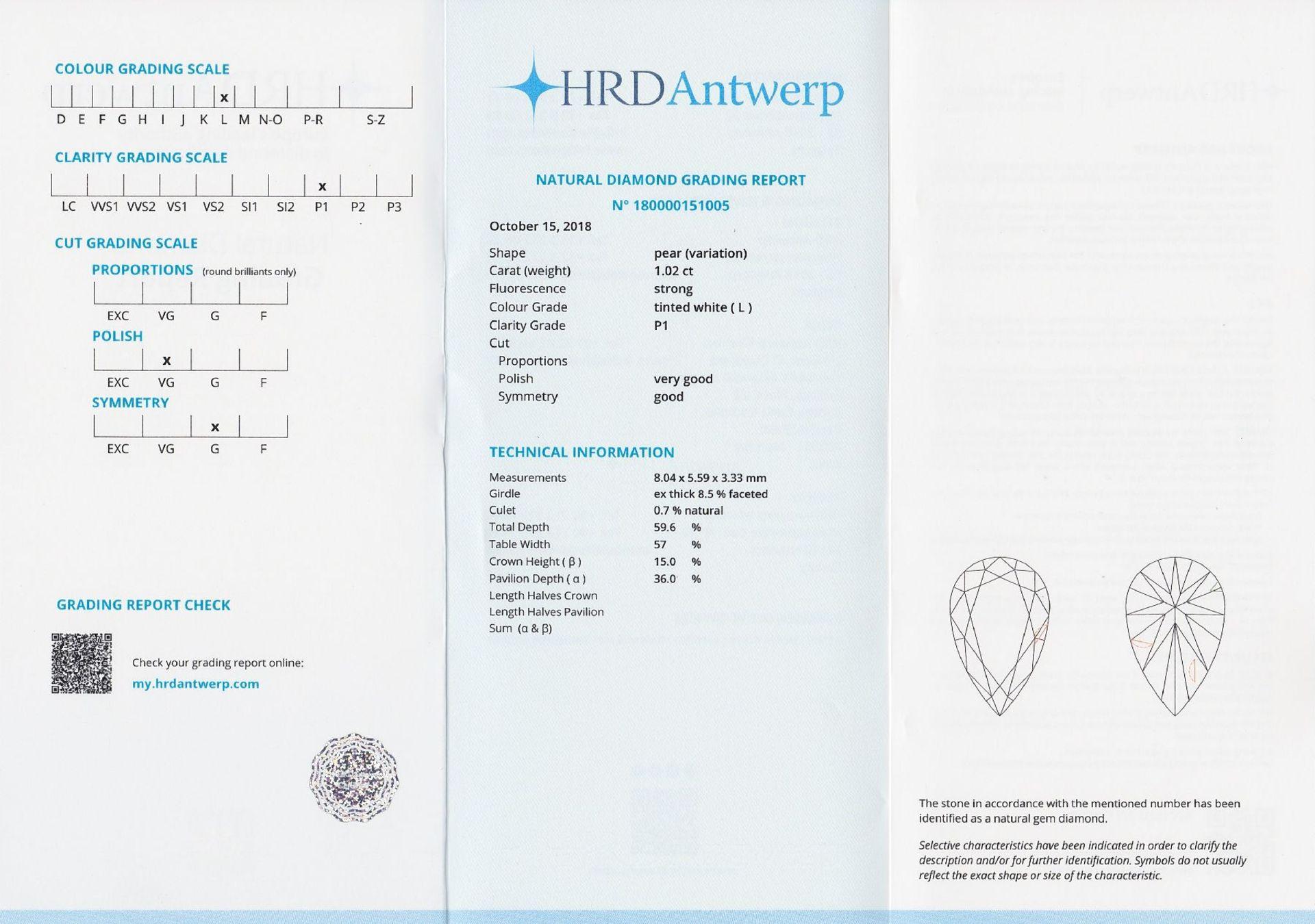 Loser Diamant, 1.02 ct get.Weiß (L)/p1, tropfenf. facett., mit HRD-Expertise Schätzpreis: 2565, - - Bild 5 aus 5