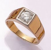 18 kt Gold Ring mit Brillant, GG/WG 750/000, Brillant ca. 0.80 ct feines Weiß (G)/vs, ca. 9.4 g,
